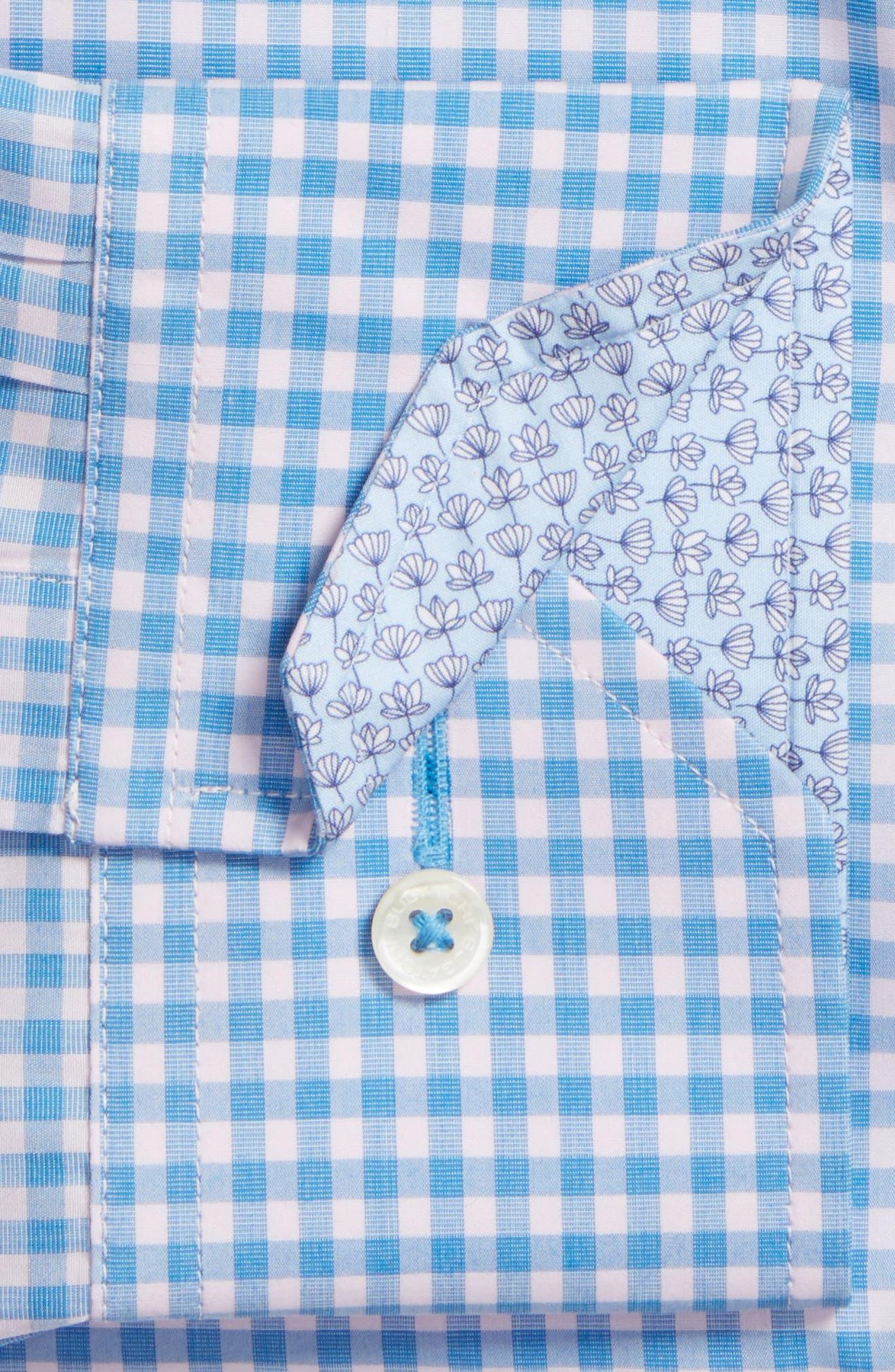 Trim Fit Check Dress Shirt,                             Alternate thumbnail 2, color,                             Air Blue