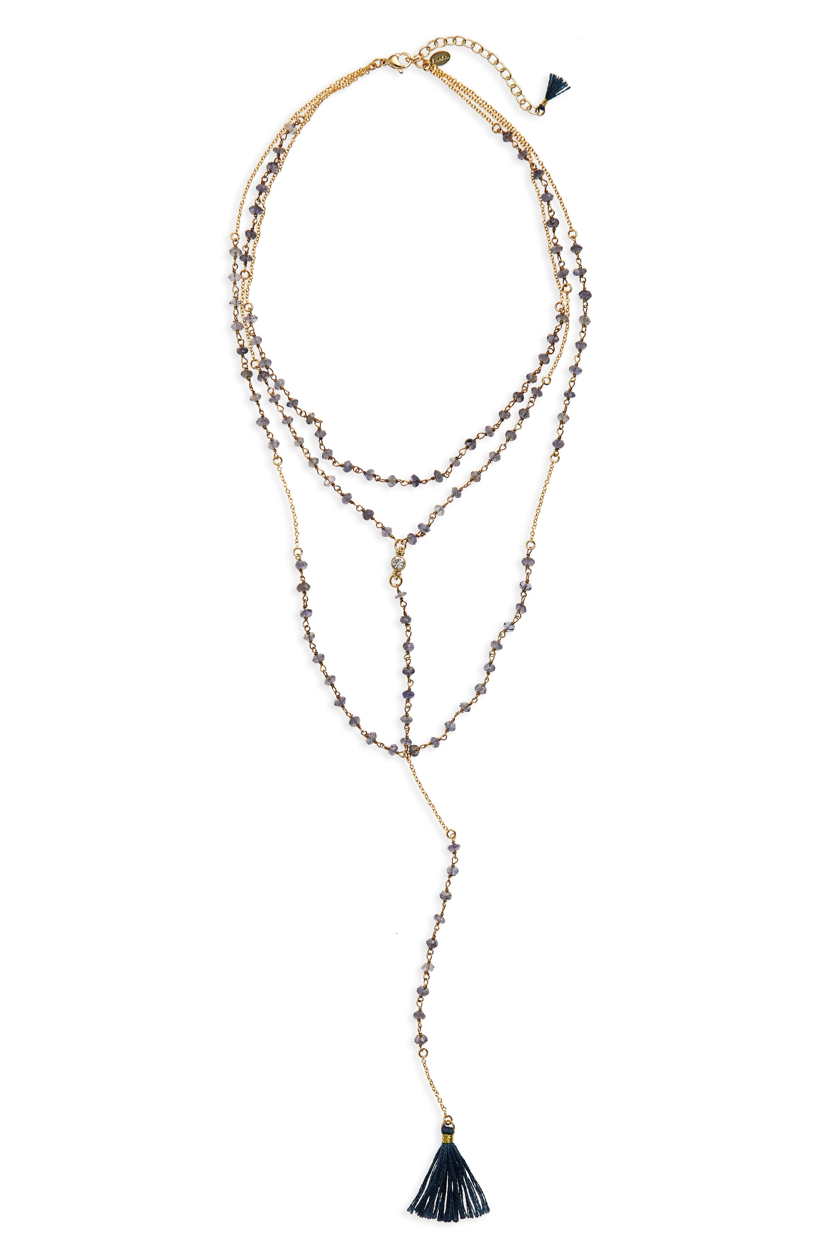 Enne Layered Lariat Necklace,                         Main,                         color, Yellow Gold/ Iolite