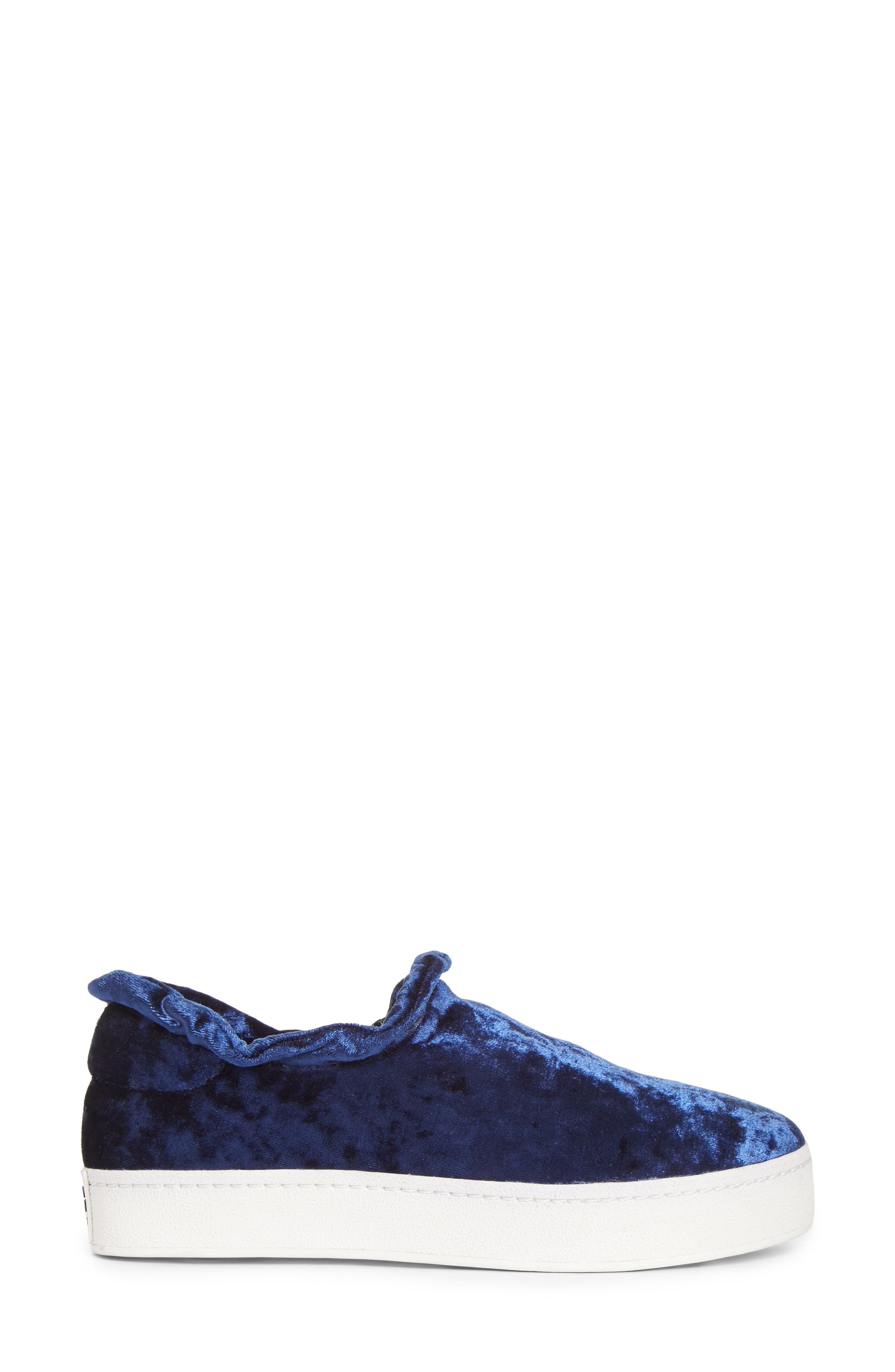 Cici Velvet Ruffle Slip-On Sneaker,                             Alternate thumbnail 3, color,                             Eclipse