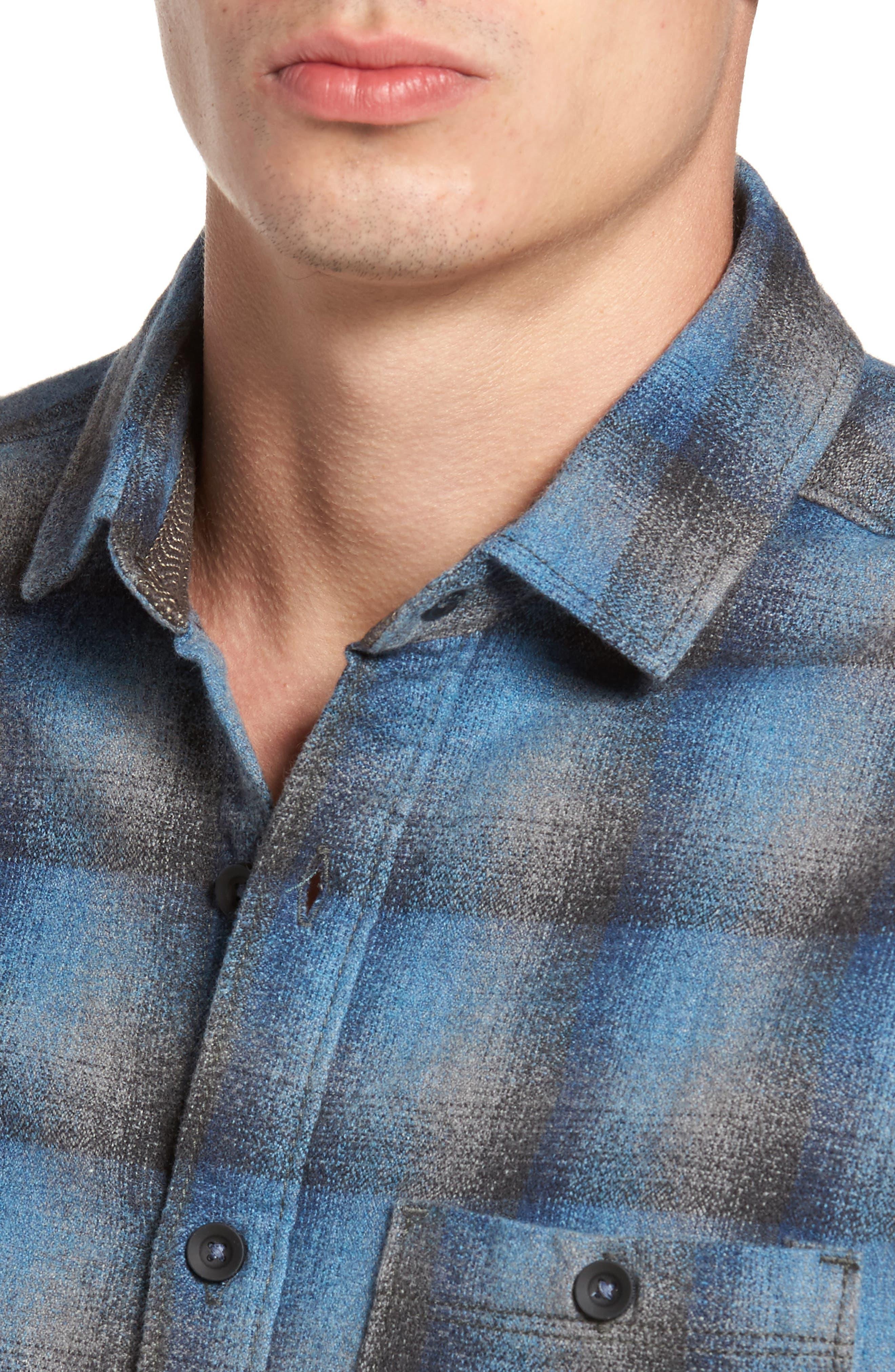 Delta Regular Fit Brushed Crepe Sport Shirt,                             Alternate thumbnail 4, color,                             Captain Heather