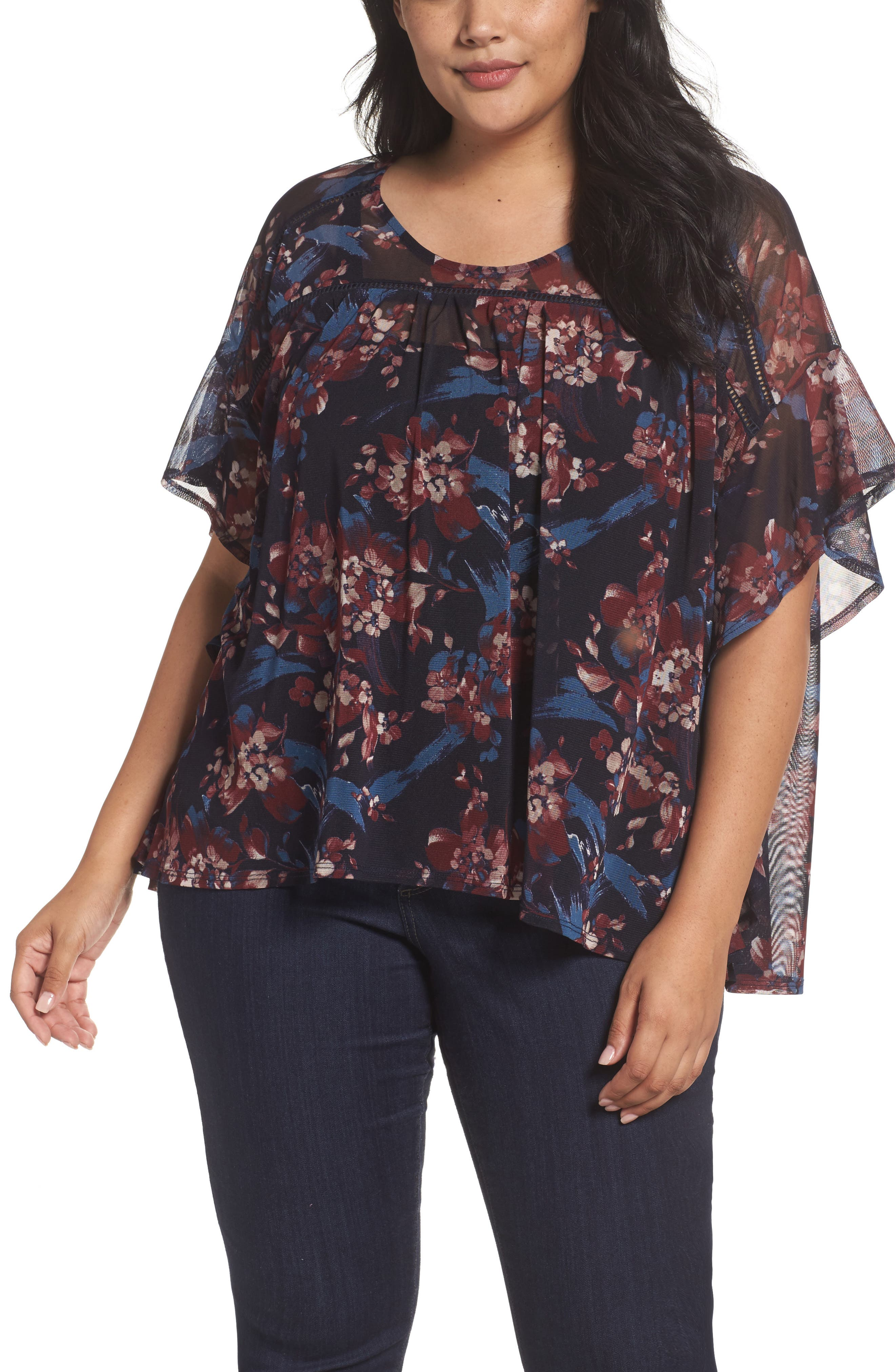 Ruffle Mesh Top,                         Main,                         color, Painterly Floral Print