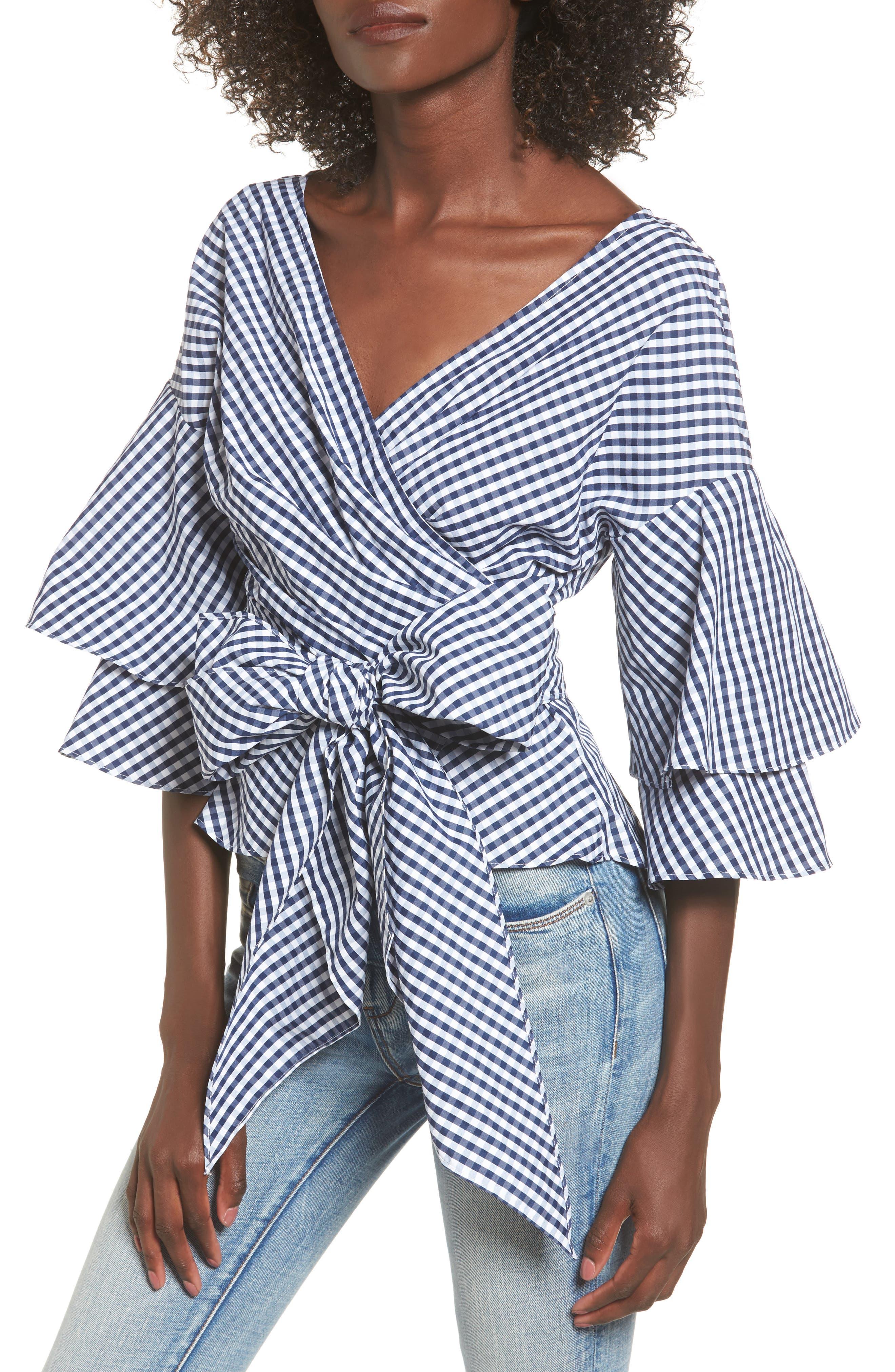 Beckett Tiered Bell Sleeve Top,                             Main thumbnail 1, color,                             Navy/ White