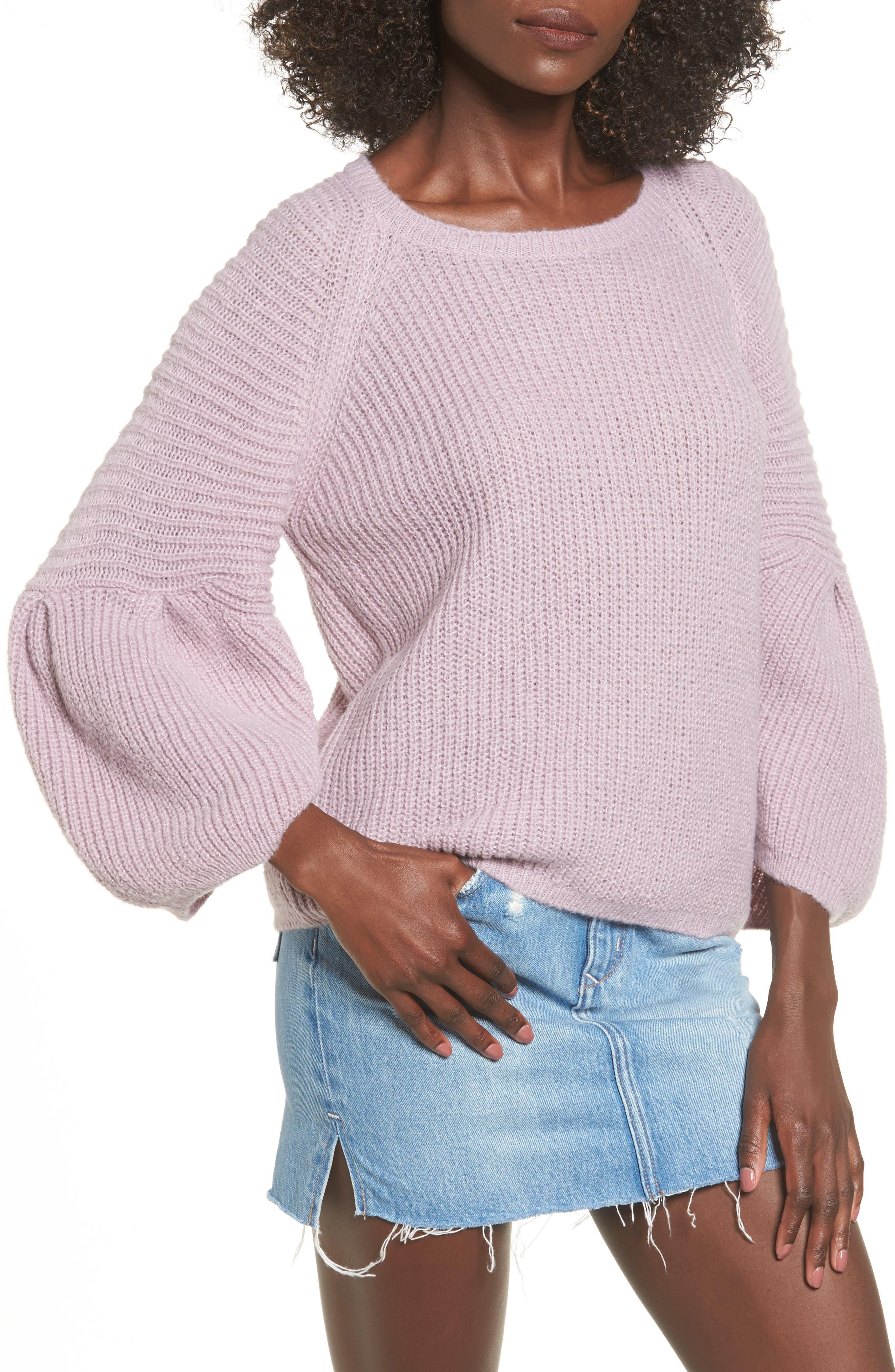 Bubble Sleeve Sweater,                         Main,                         color, Purple Peace