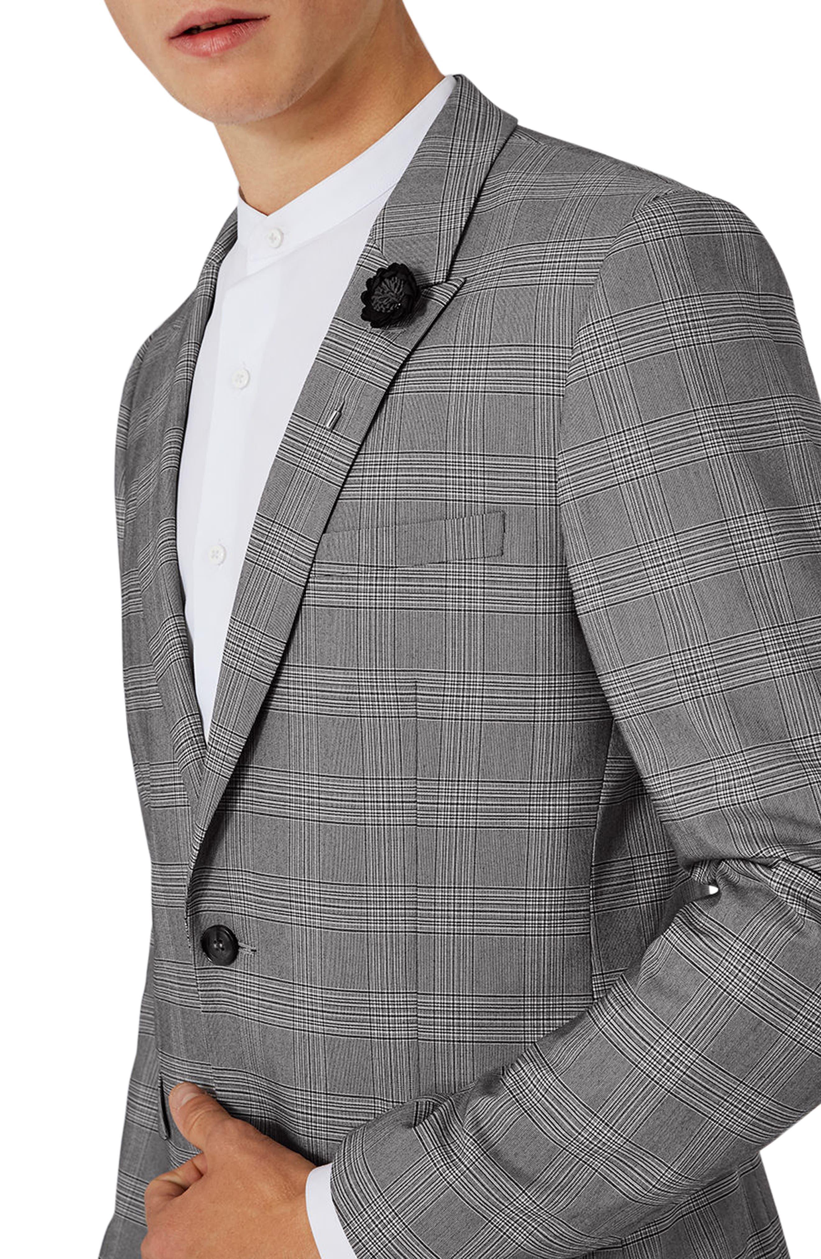 Skinny Fit Check Suit Jacket,                             Alternate thumbnail 4, color,                             Black