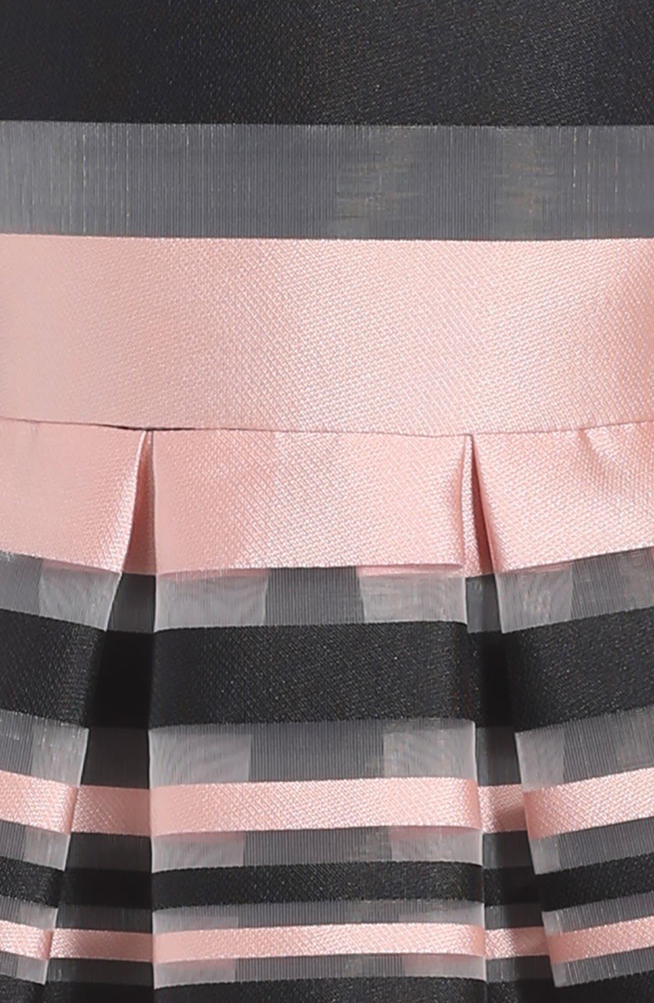Illusion Stripe Sleeveless Dress,                             Alternate thumbnail 3, color,                             Blush/ Black