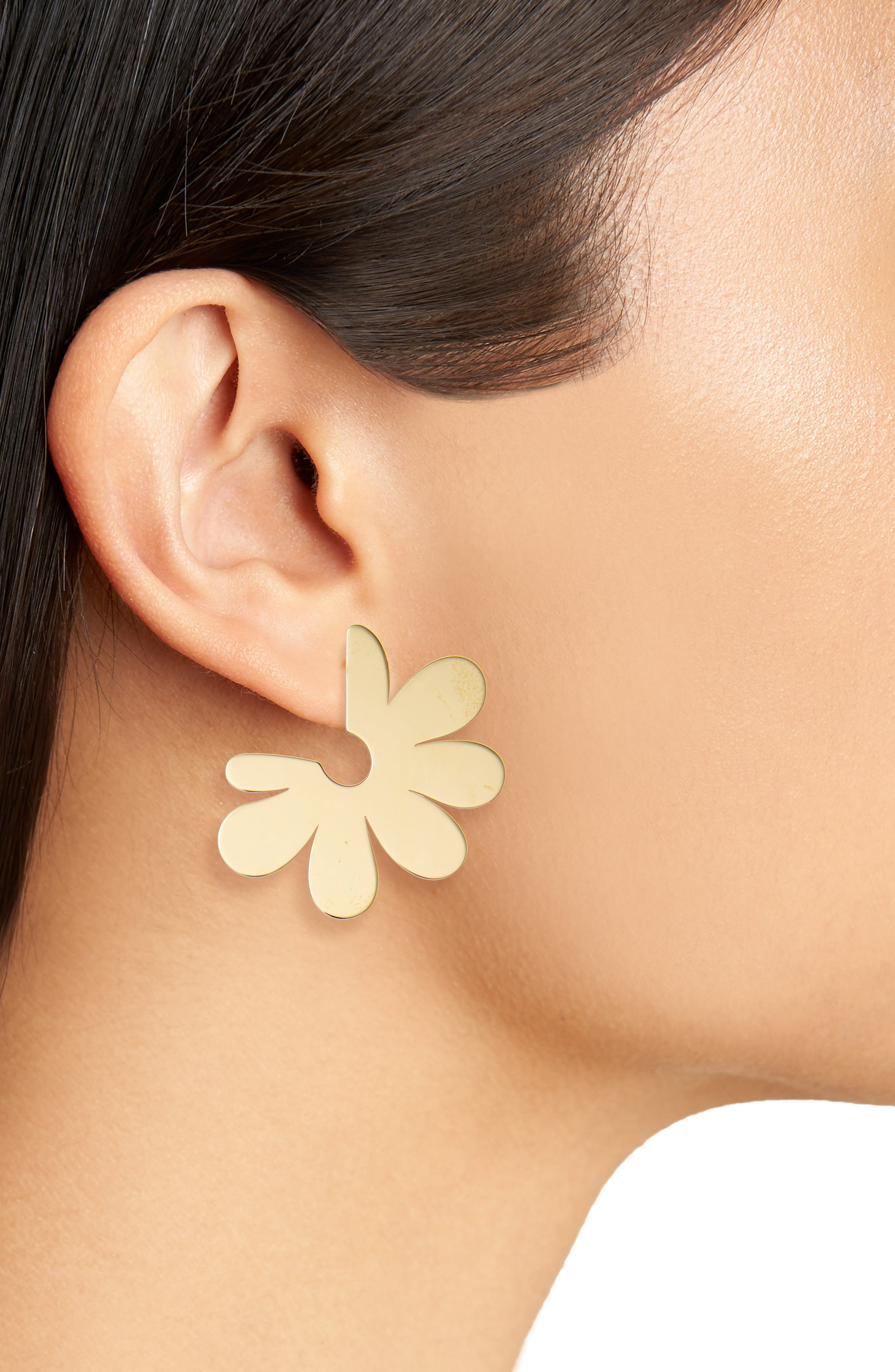 Small Solid Flower Hoop Earrings,                             Alternate thumbnail 2, color,                             Gold