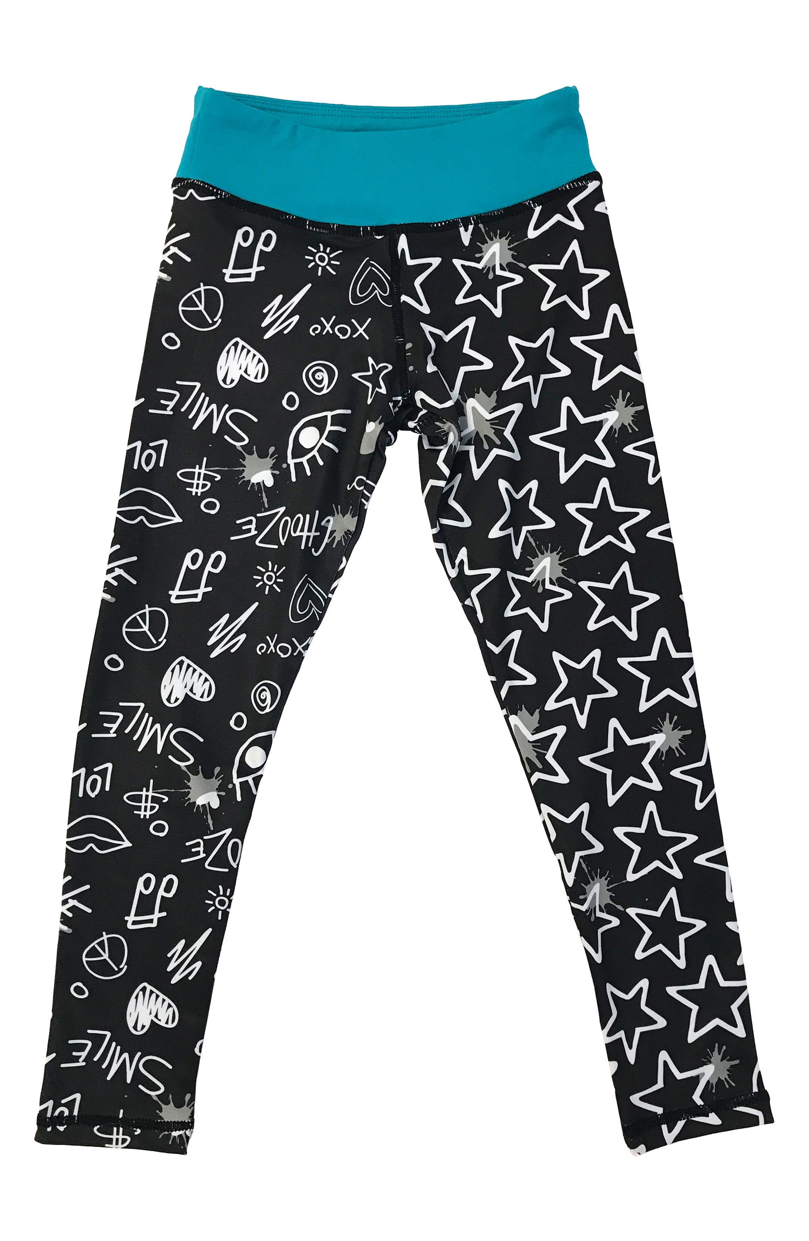 'Splits' Mixed Print Leggings,                             Alternate thumbnail 3, color,                             Draw Black