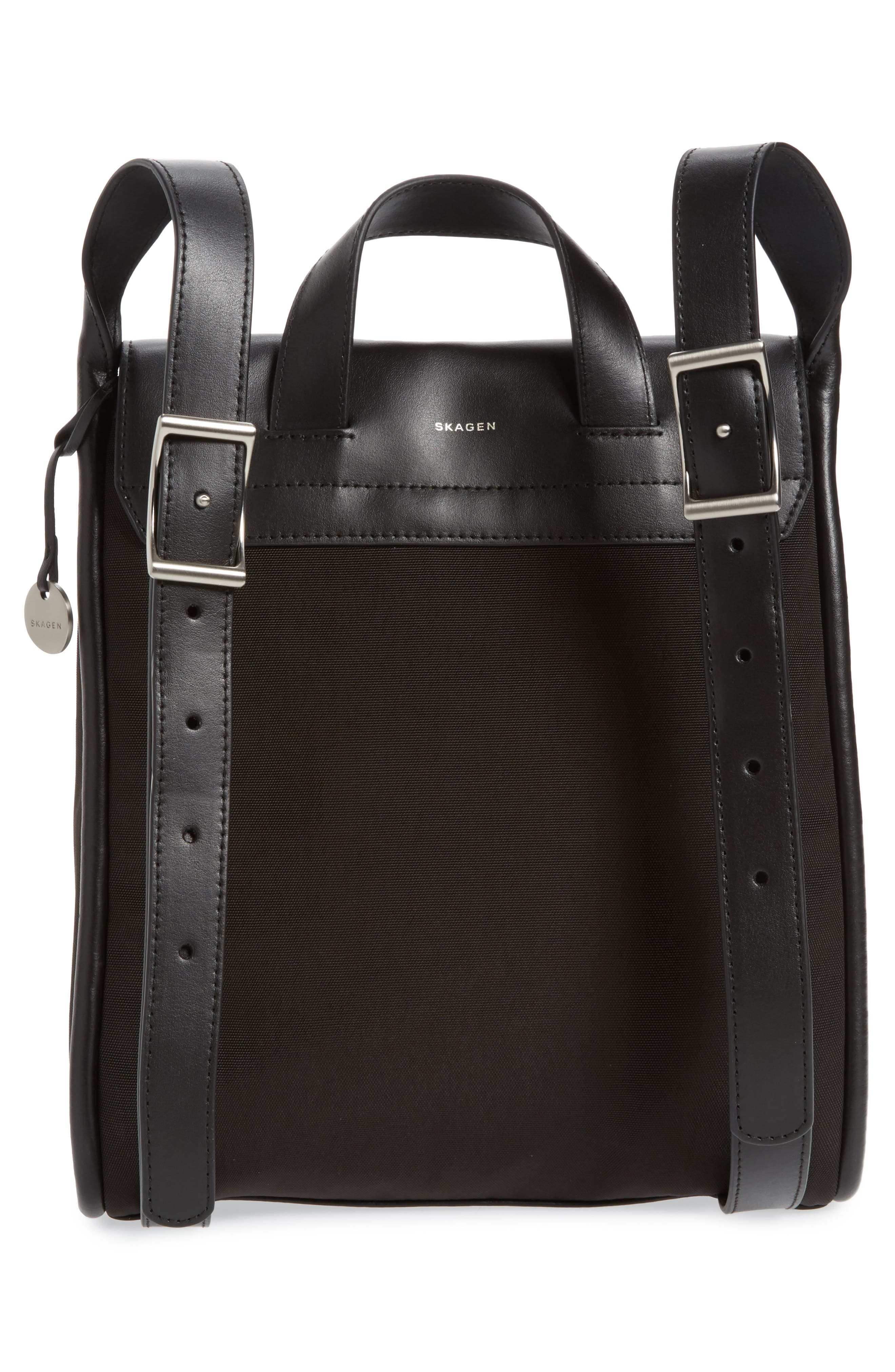 Ebba Leather Backpack,                             Alternate thumbnail 2, color,                             Black