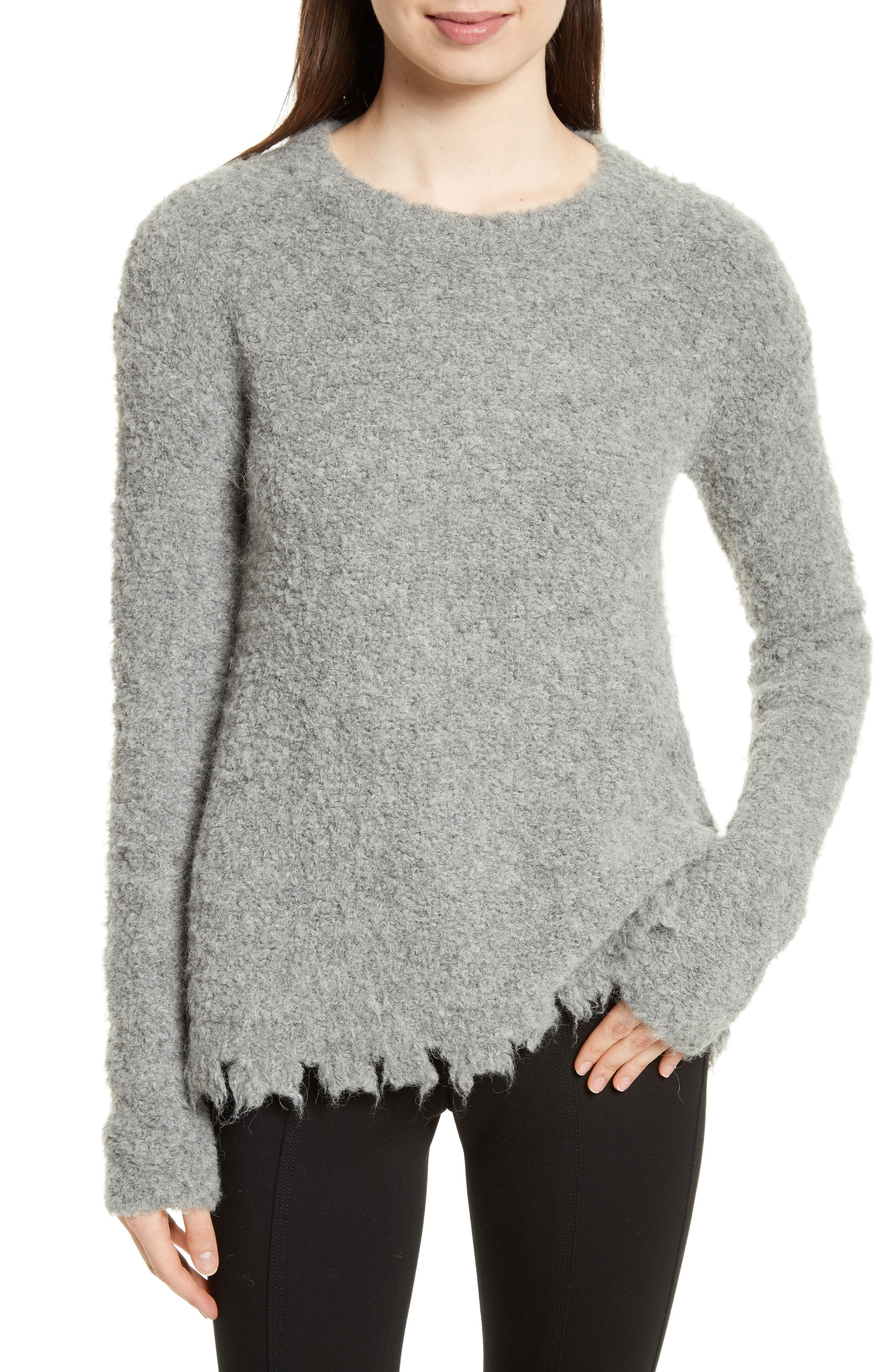 Destroyed Hem Sweater,                             Main thumbnail 1, color,                             Heather Grey