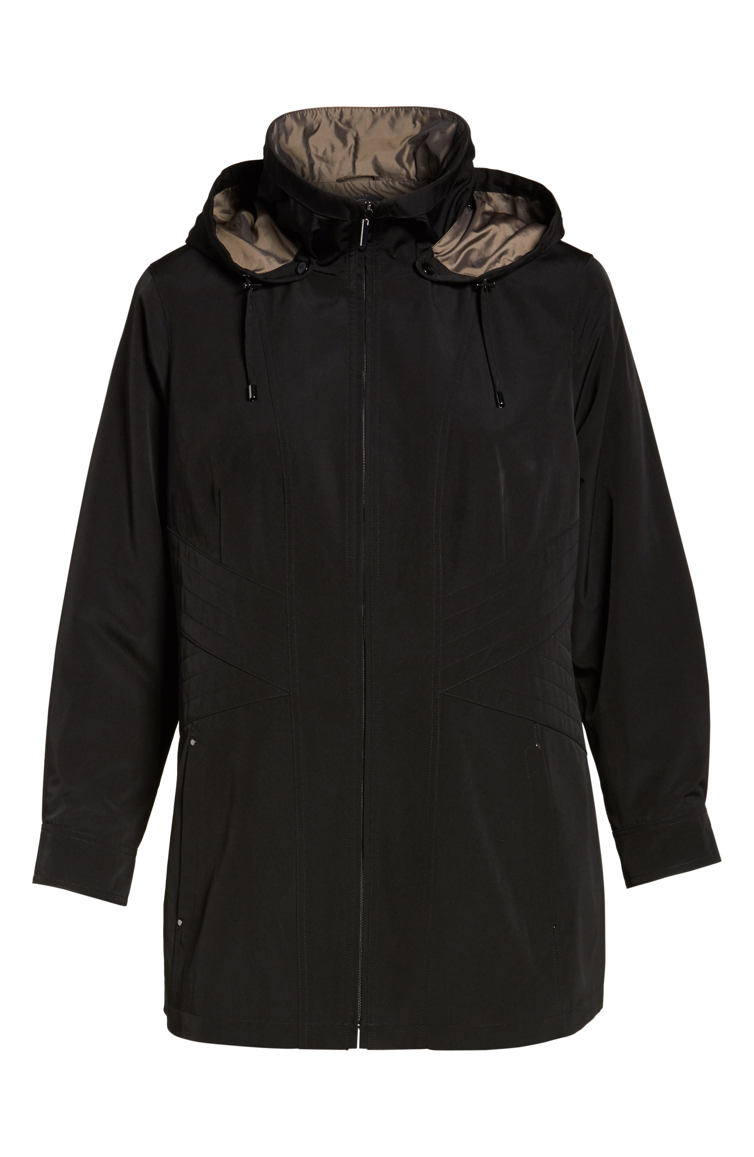 Alternate Image 6  - Gallery Two-Tone Long Silk Look Raincoat (Plus Size)