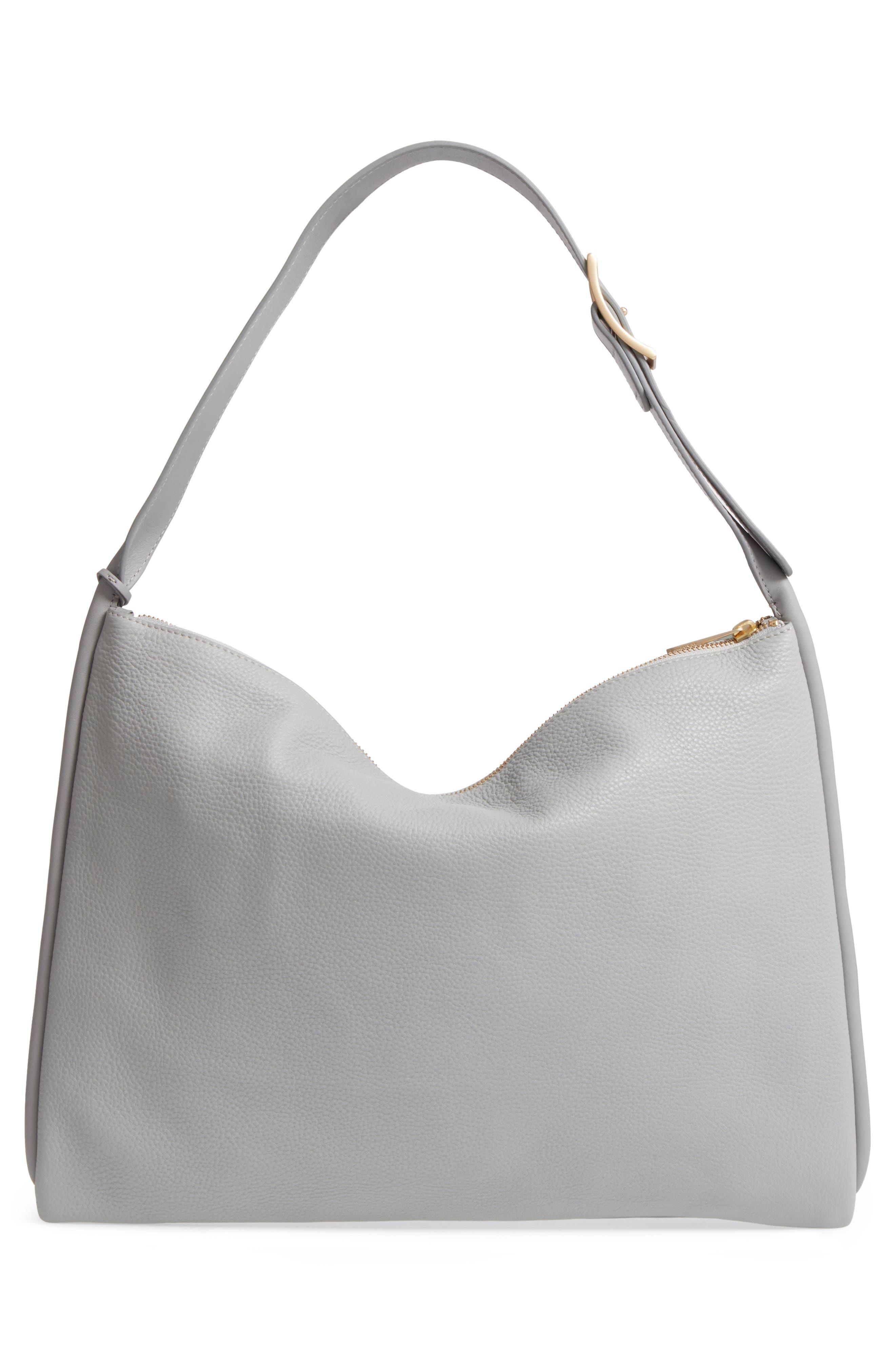 Anesa Leather Shoulder Bag,                             Alternate thumbnail 2, color,                             Light Ash