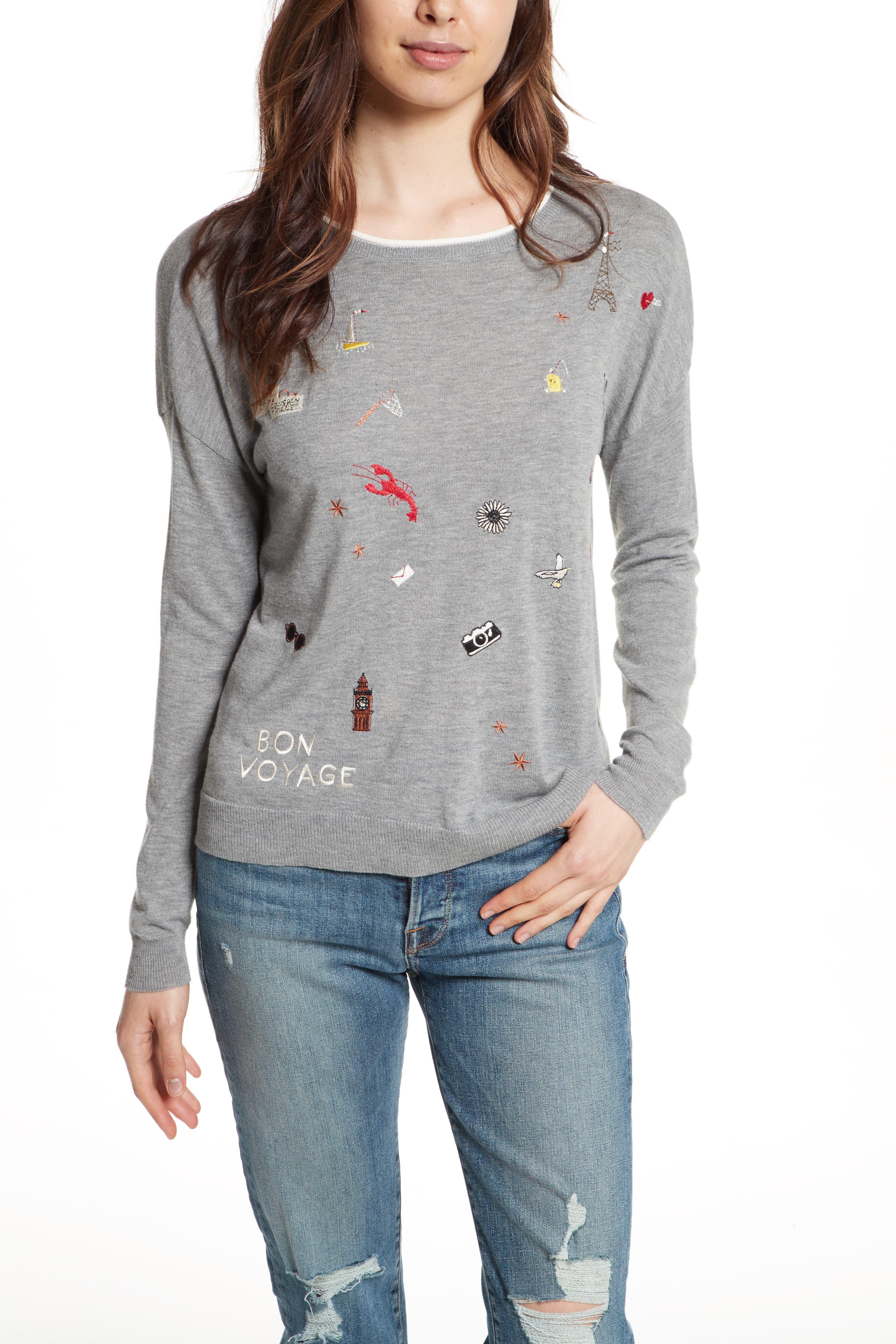Eloisa B Embroidered Sweater,                         Main,                         color, Heather Grey/ Porcelain