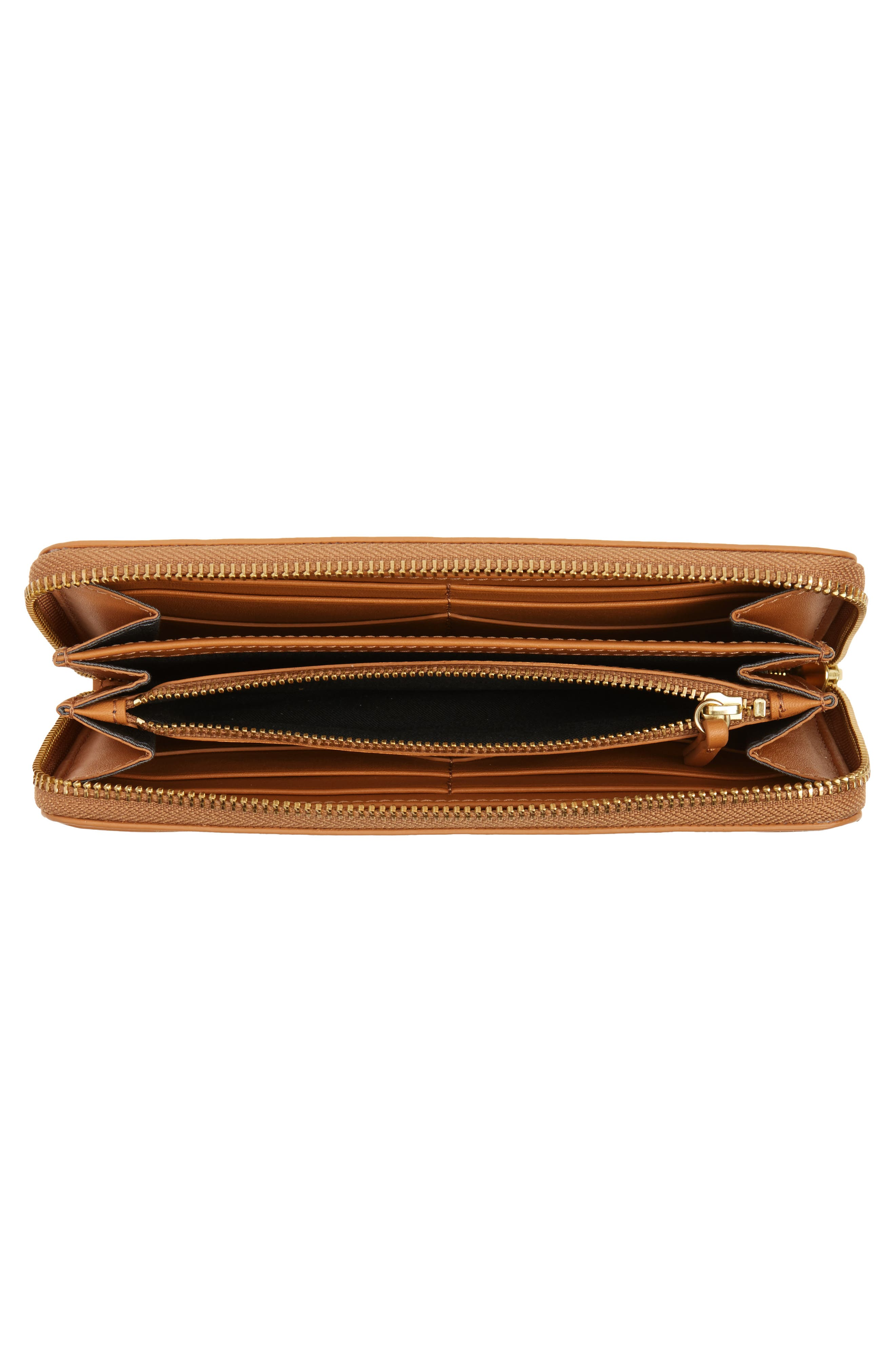Leather Continental Wallet,                             Alternate thumbnail 2, color,                             Tan