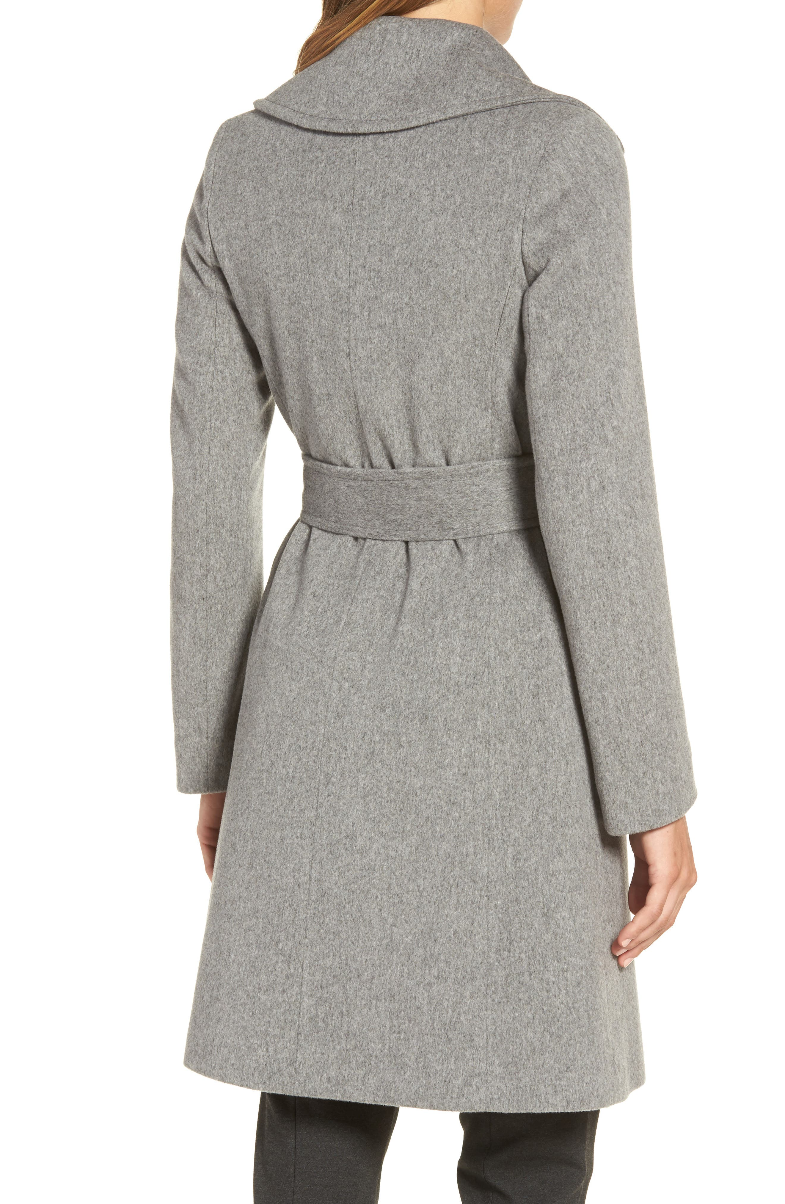 Alternate Image 2  - Fleurette Wool Wrap Coat (Regular & Petite)
