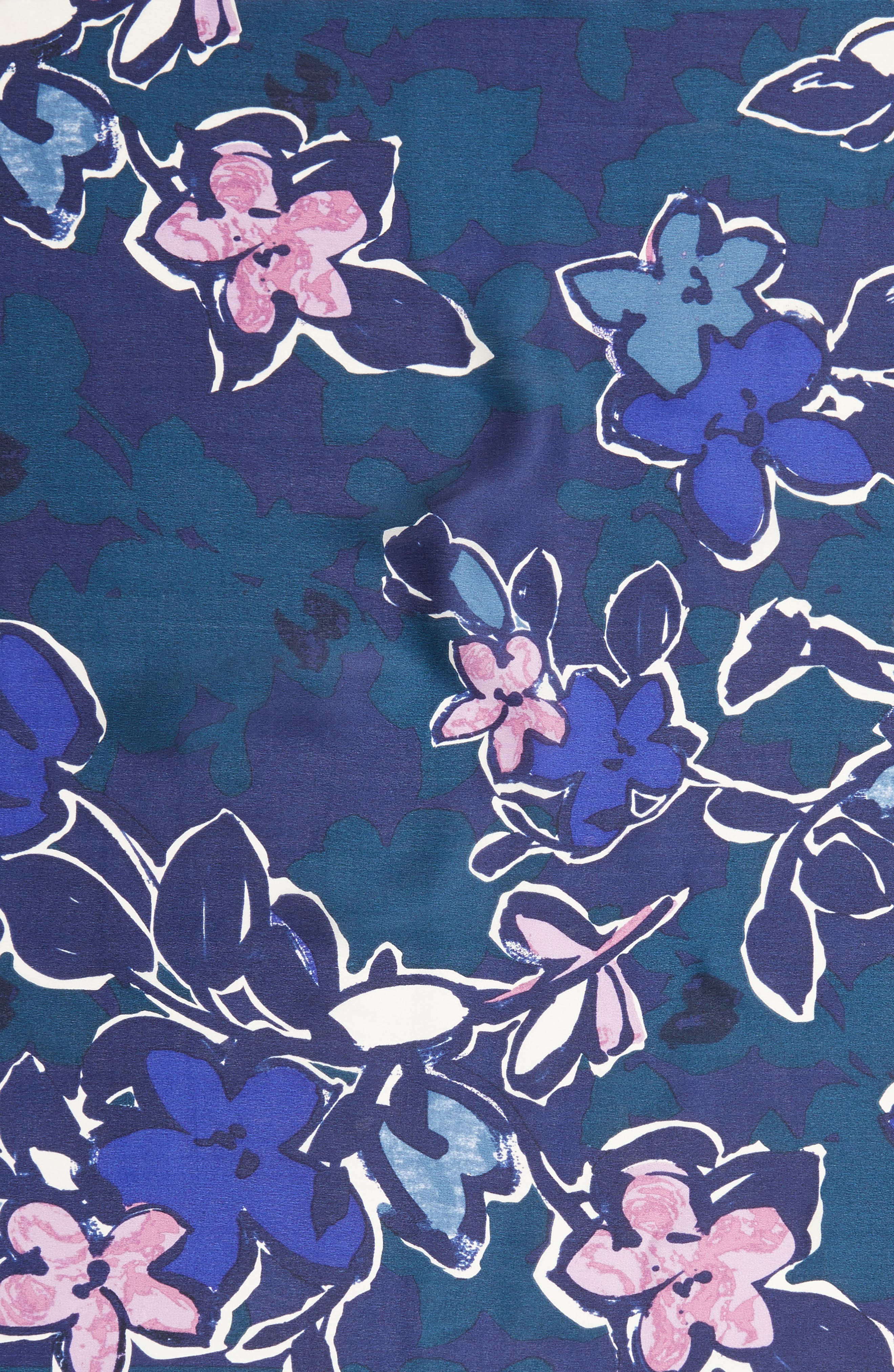 Bloom Floral Silk Square Scarf,                             Alternate thumbnail 4, color,                             Navy Combo