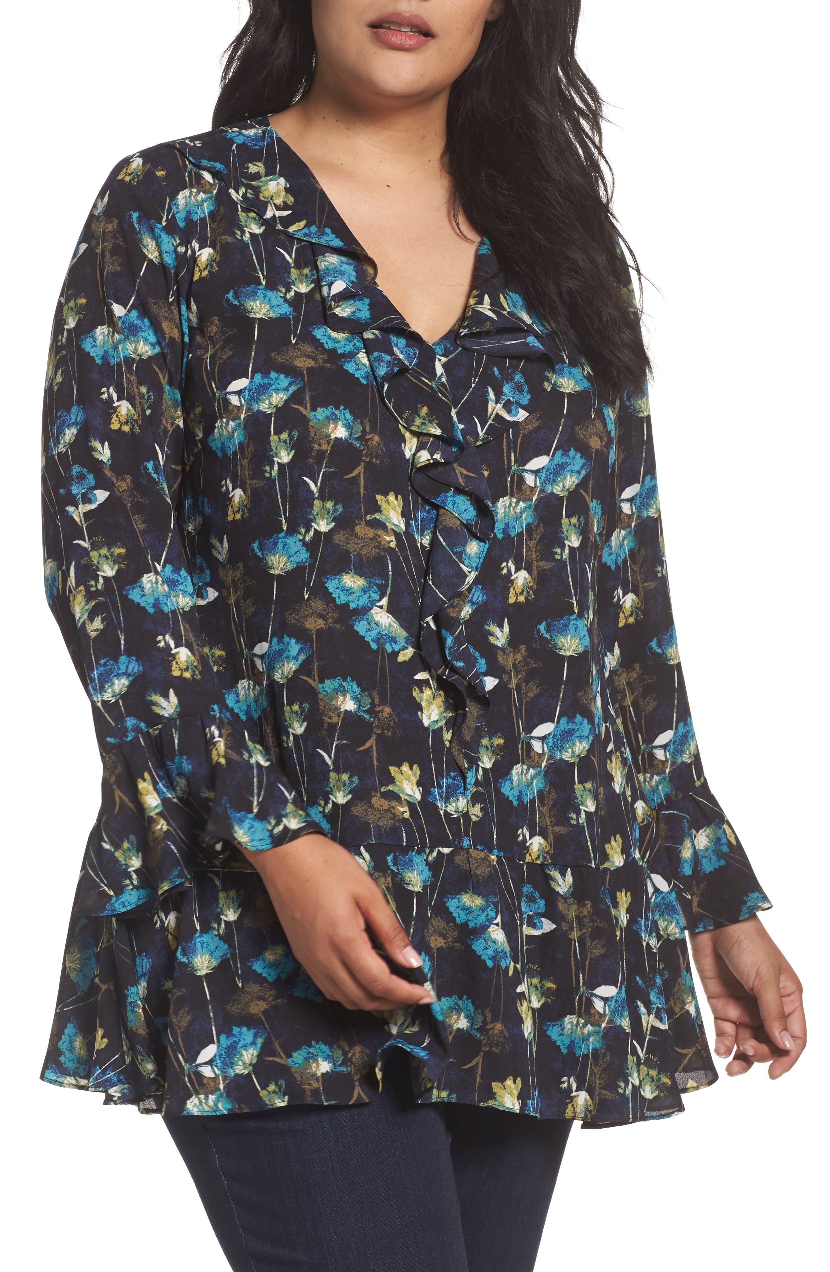 Ruffle V-Neck Tunic,                         Main,                         color, Navy- Black Midnight Print
