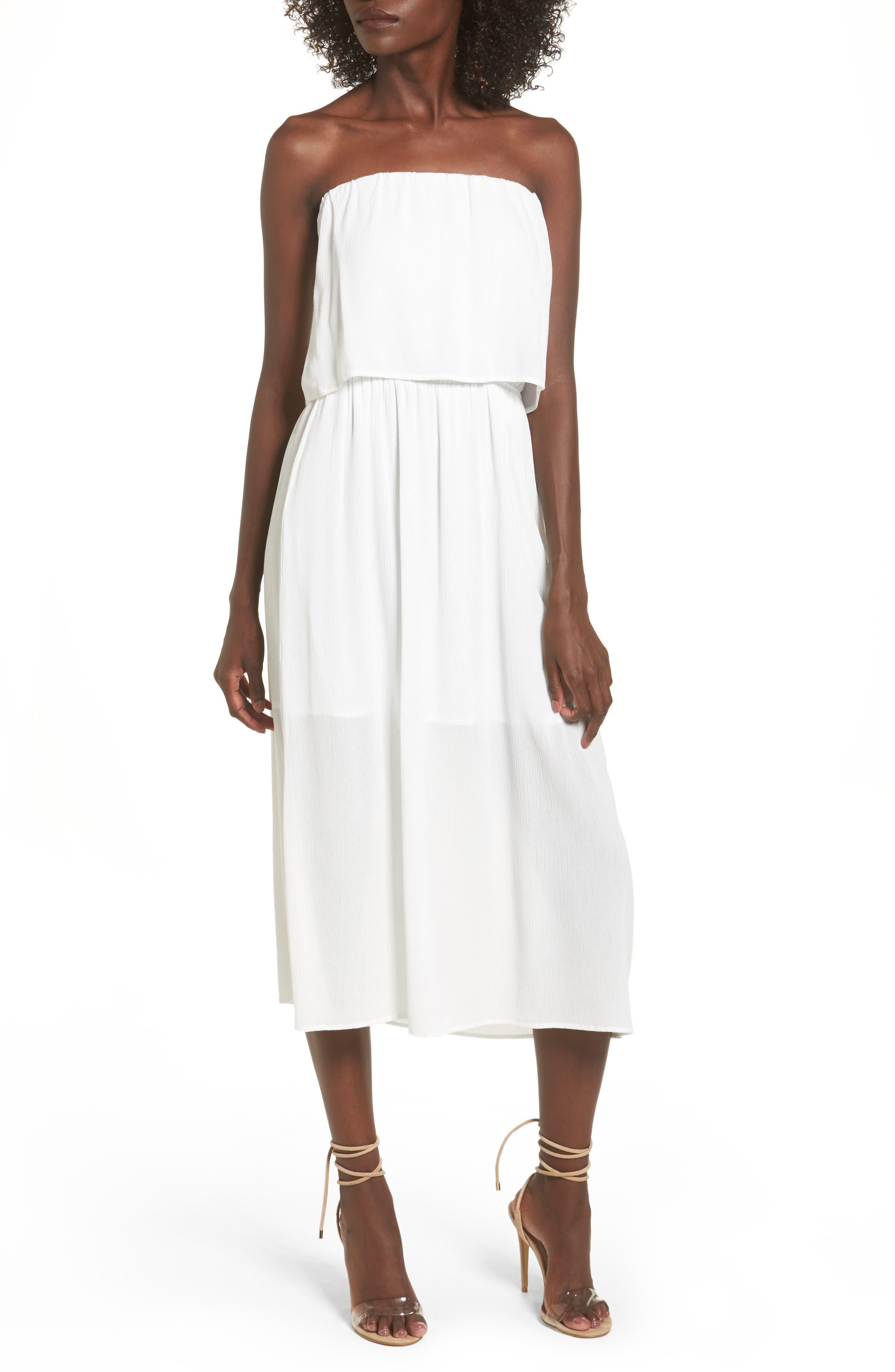 Kizzie Strapless Midi Dress,                             Main thumbnail 1, color,                             Ivory