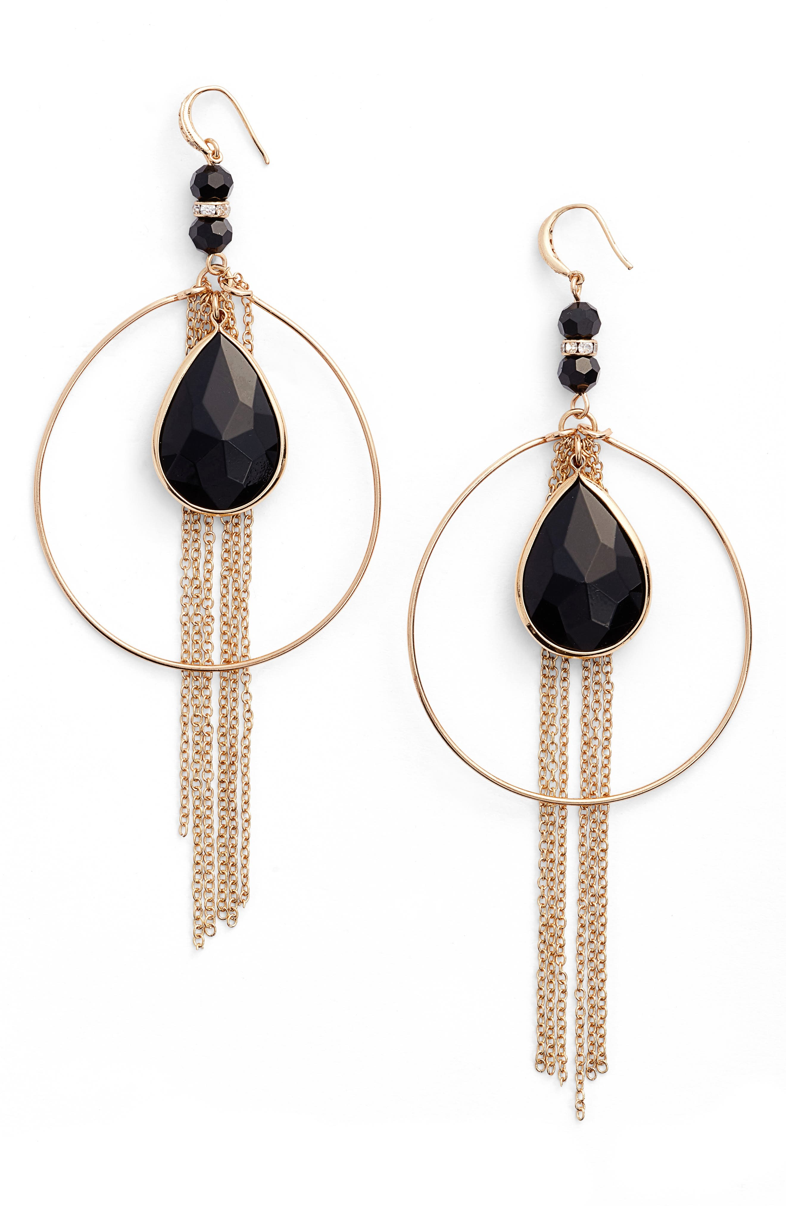 Ettika Hoop & Chains Drop Earrings