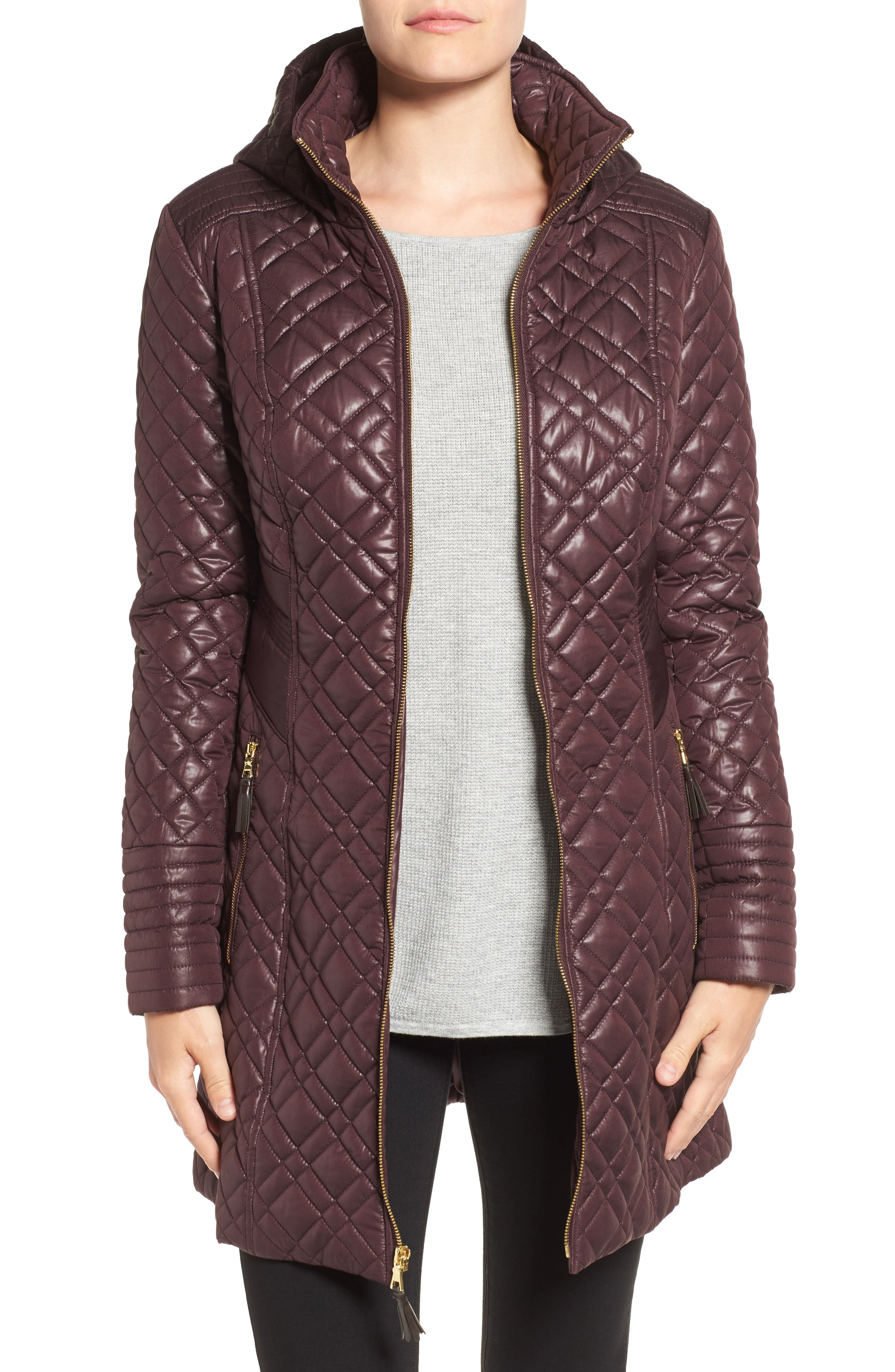 Tassel Detail Hooded Mix Quilt Coat,                             Main thumbnail 1, color,                             Marsala