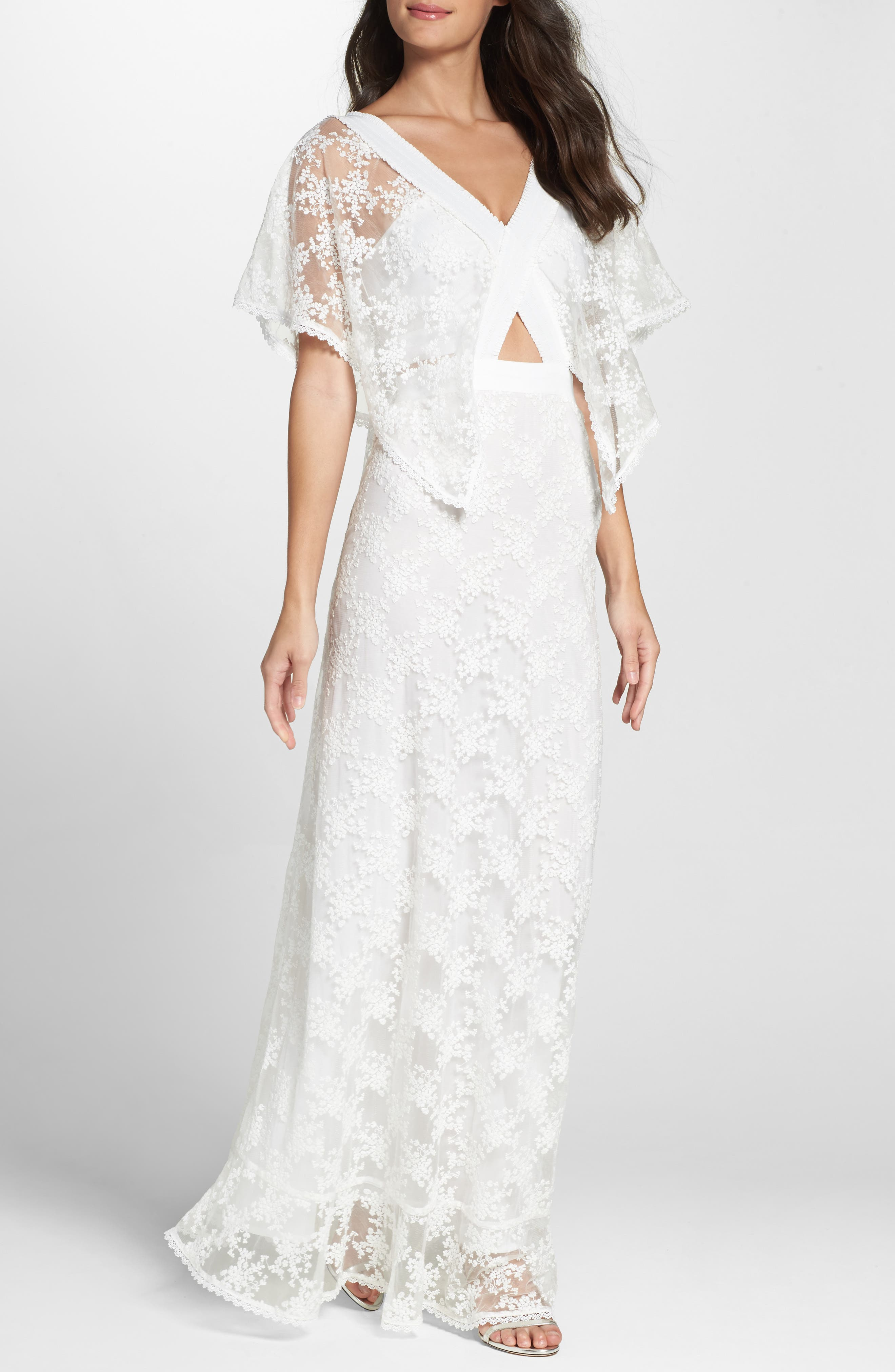 August Handkerchief Sleeve Embroidered Long Dress,                         Main,                         color, Ivory