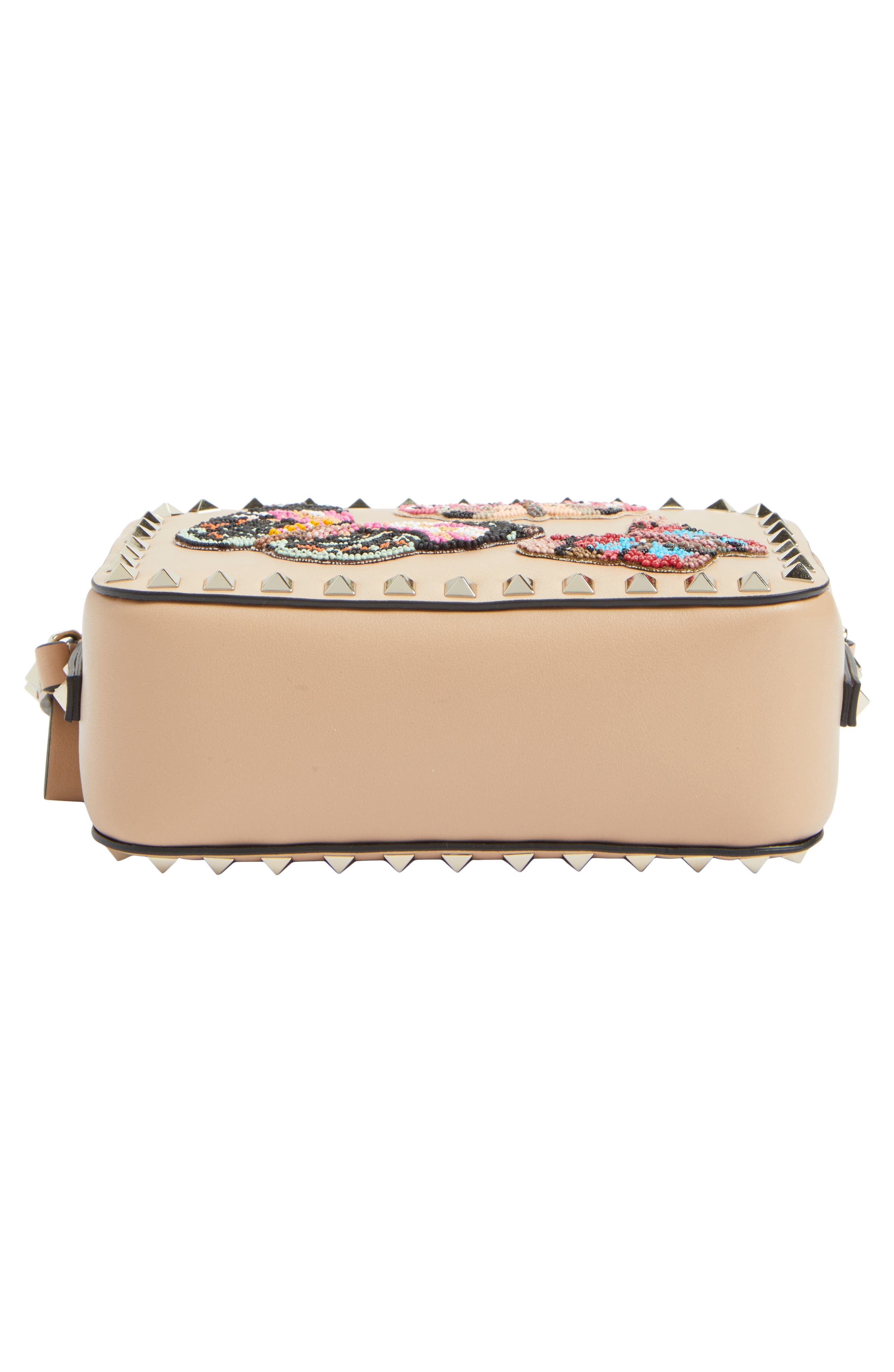 Rockstud Beaded Butterfly Leather Camera Crossbody Bag,                             Alternate thumbnail 5, color,                             Camel Rose