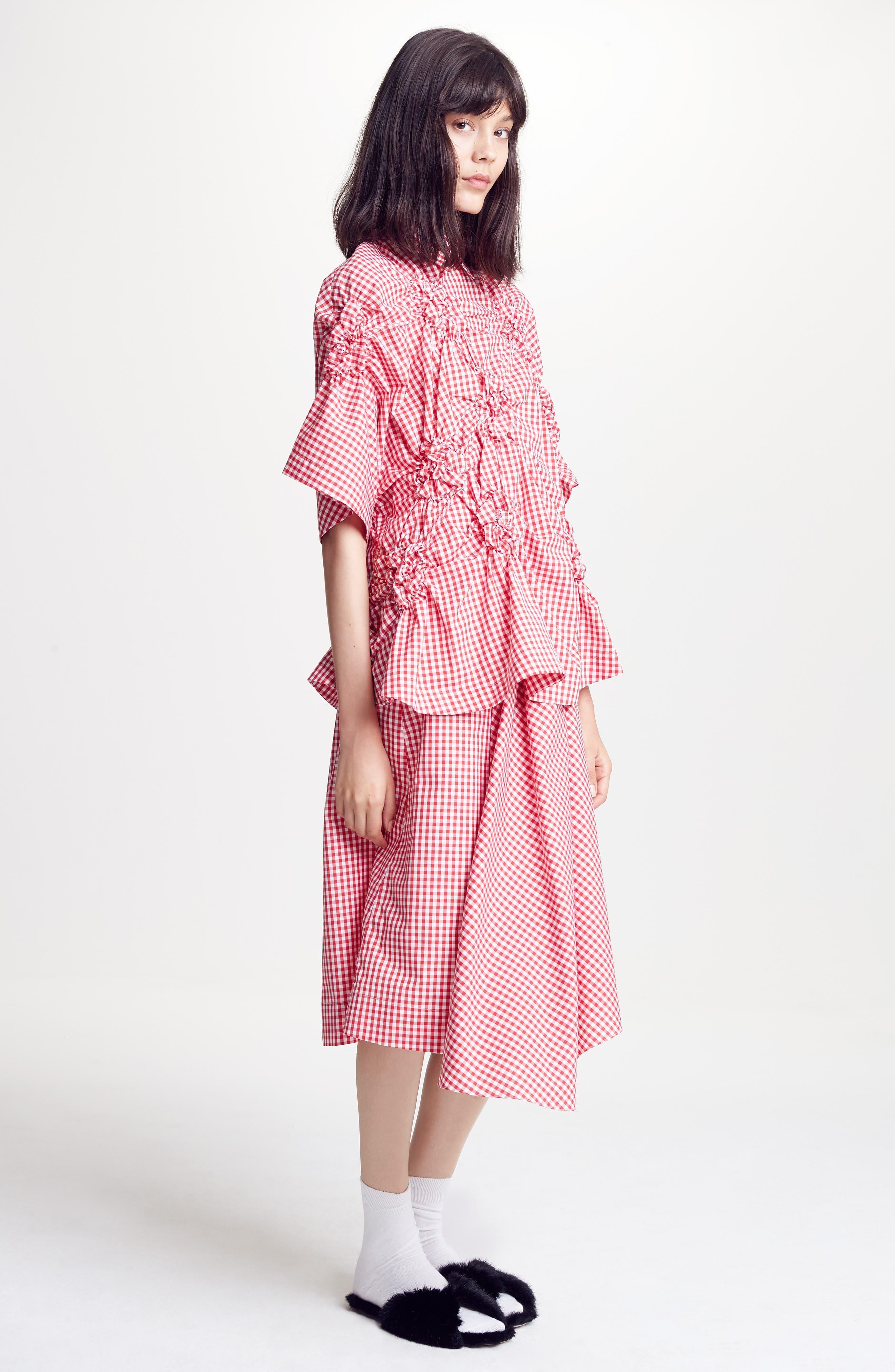 Three-Panel Gingham Midi Skirt,                             Alternate thumbnail 7, color,                             Red/ White