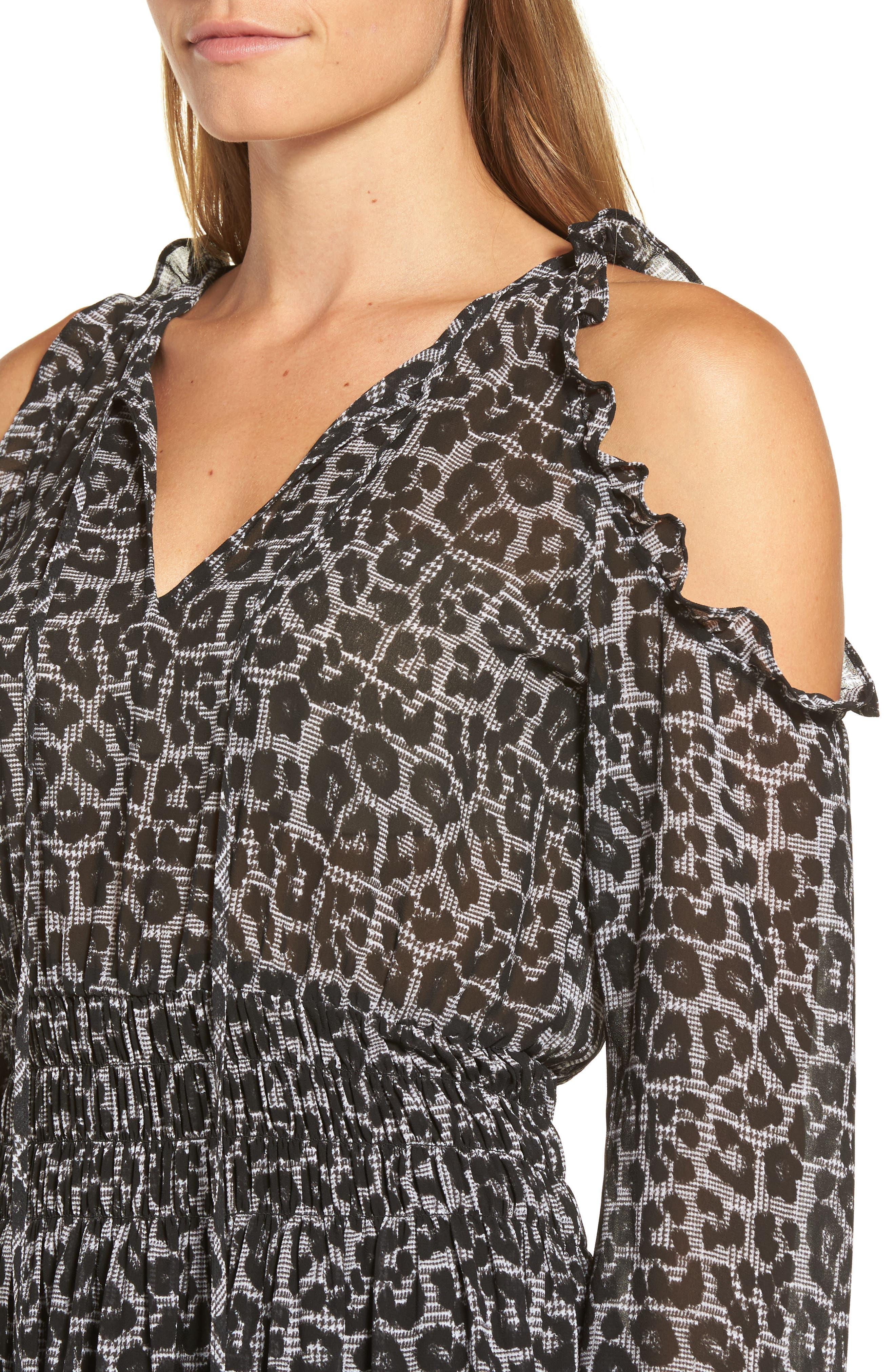 Alternate Image 4  - MICHAEL Michael Kors Leopard Cold Shoulder Midi Dress