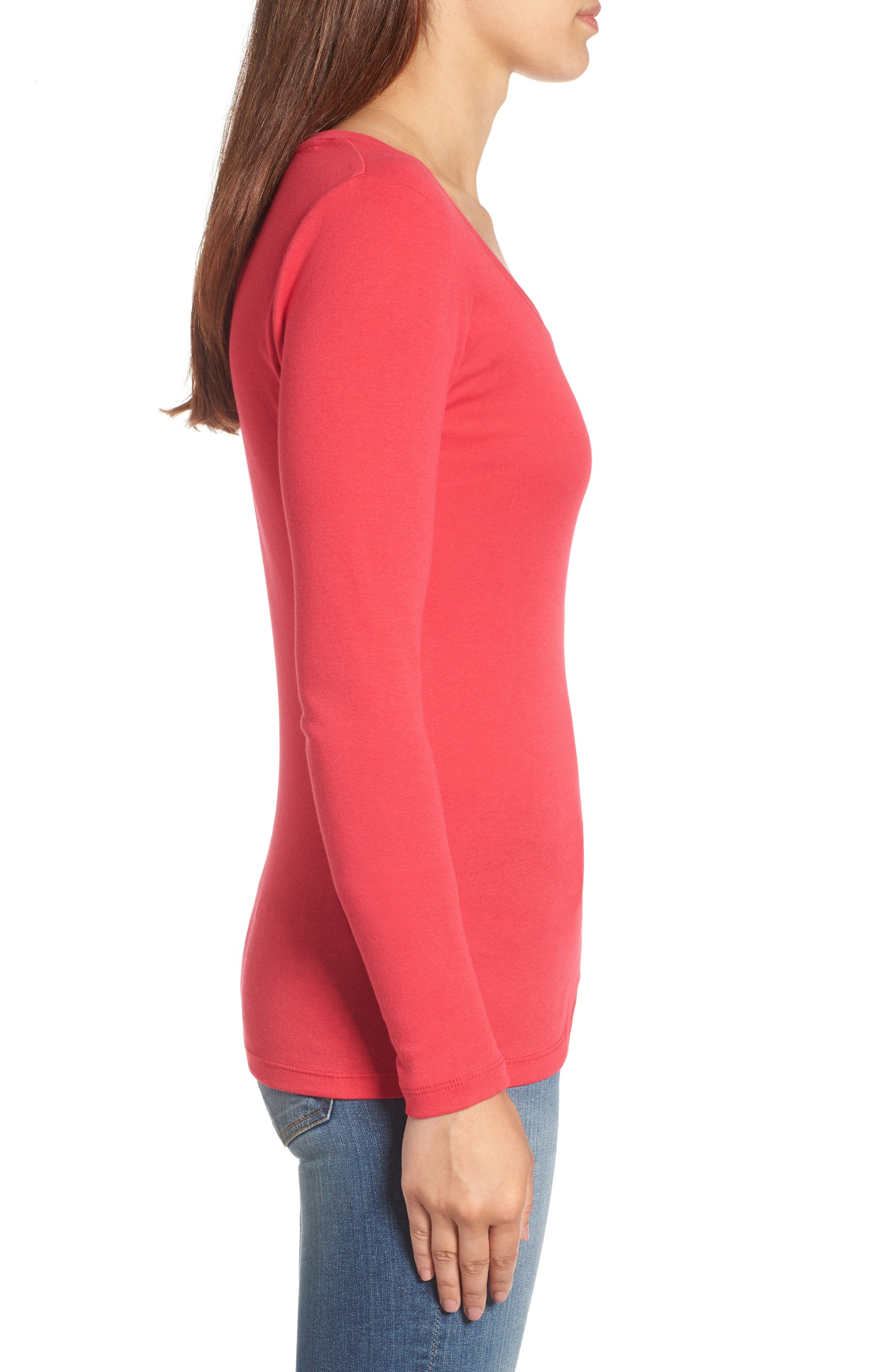 'Melody' Long Sleeve Scoop Neck Tee,                             Alternate thumbnail 3, color,                             Red Barberry