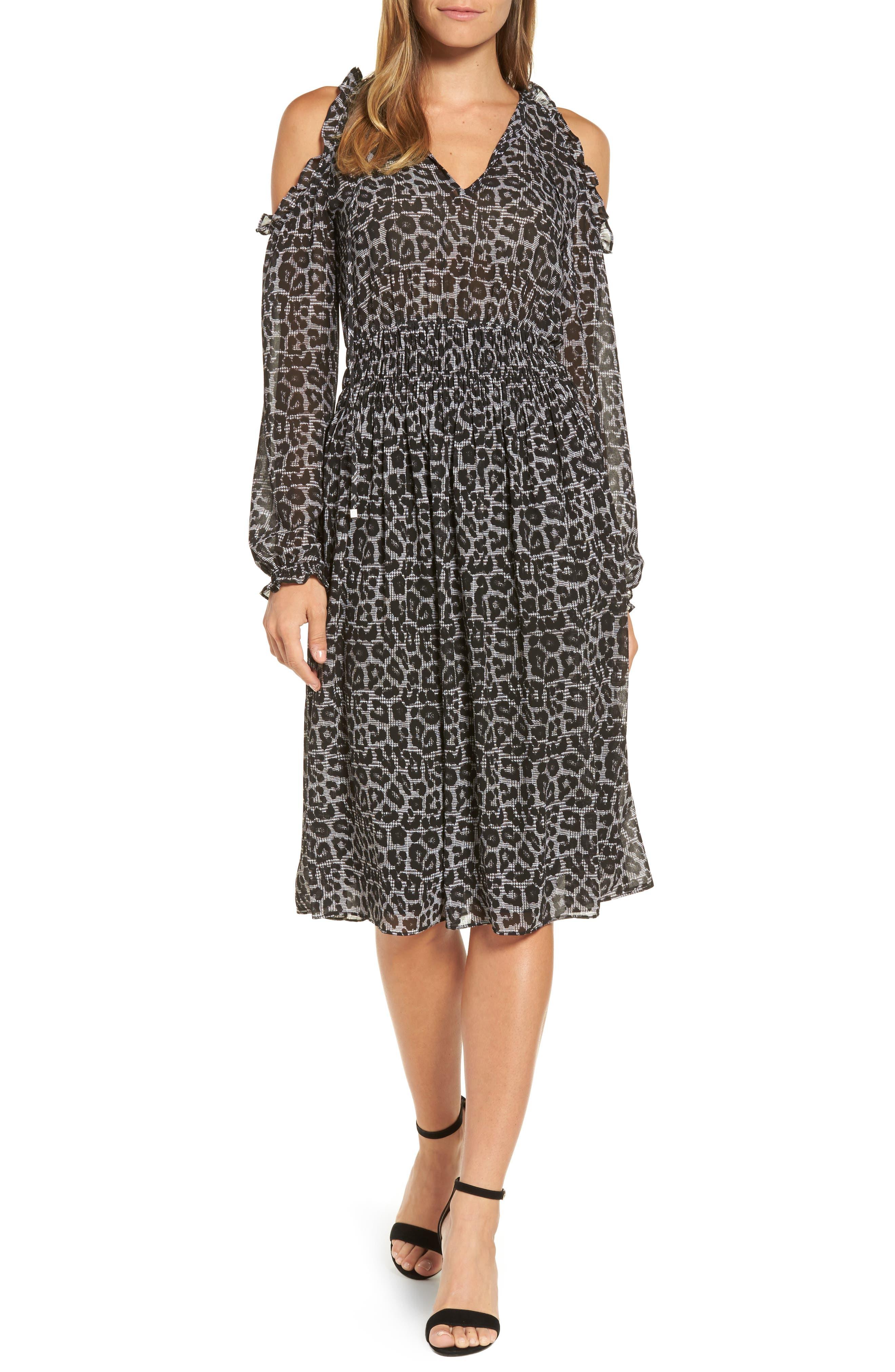 Main Image - MICHAEL Michael Kors Leopard Cold Shoulder Midi Dress