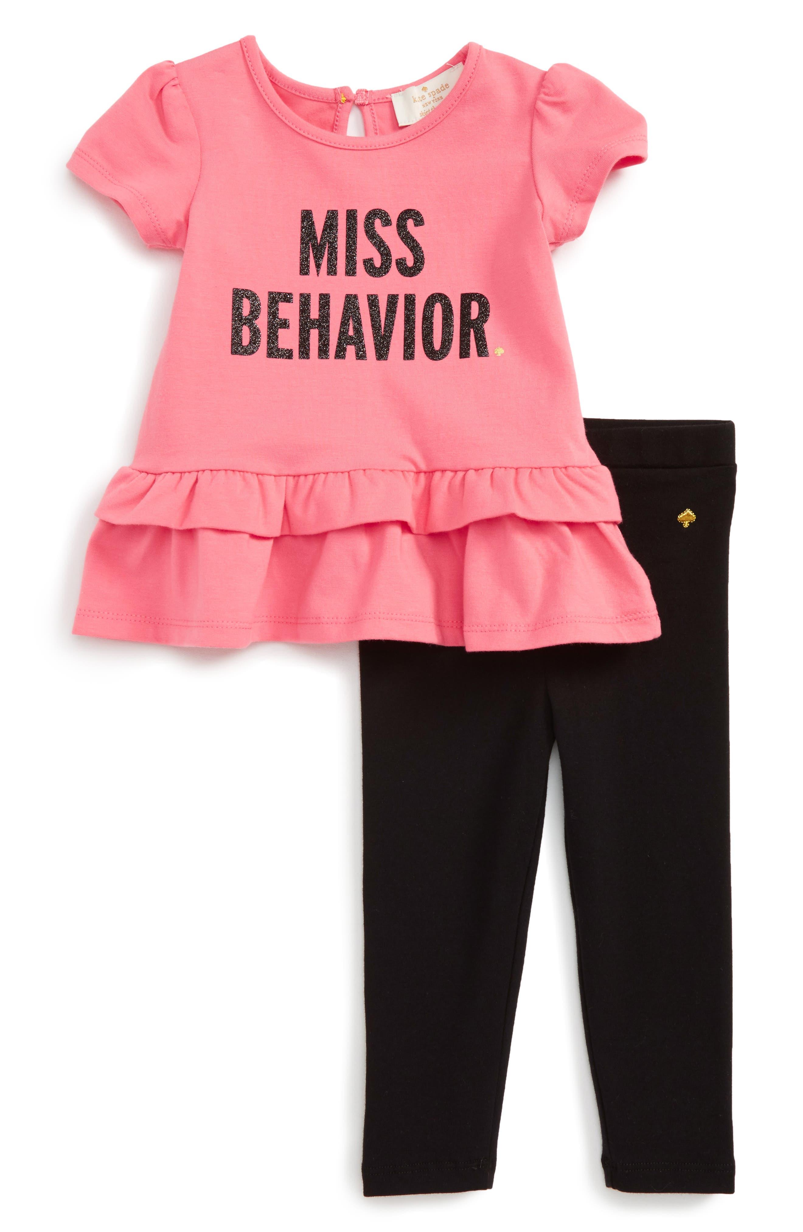 KATE SPADE NEW YORK miss behavior tee & leggings set