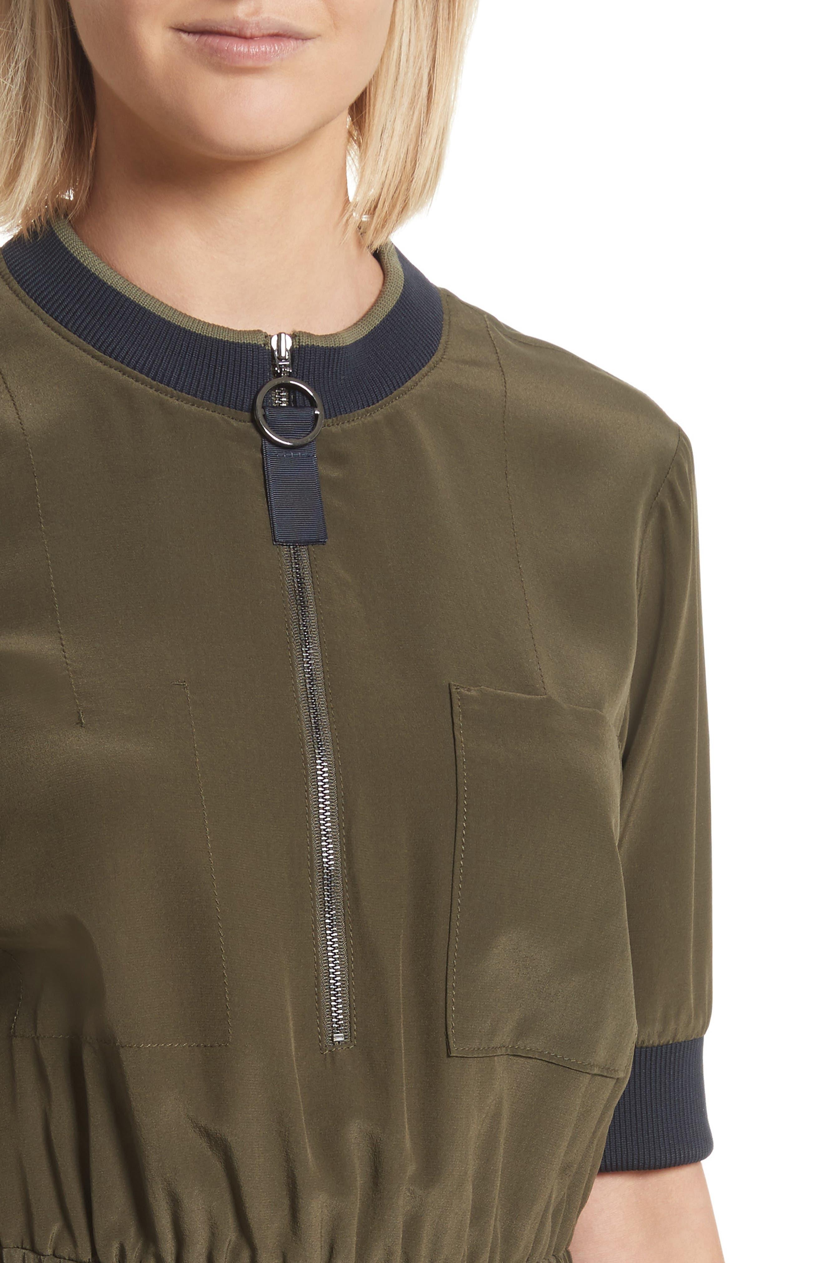 Ribbed Detail Silk Handkerchief Dress,                             Alternate thumbnail 4, color,                             Moss