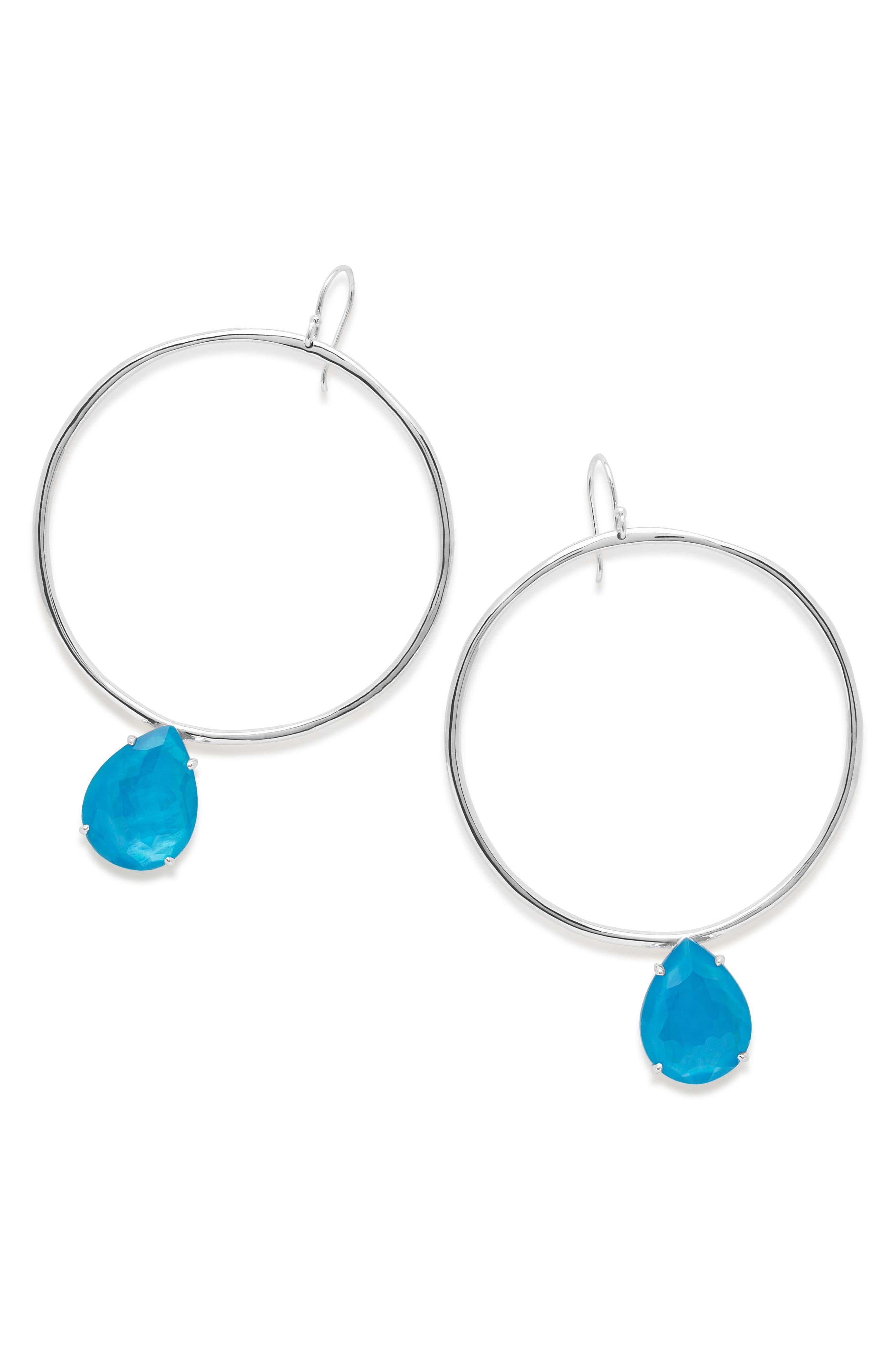 Wonderland Large Frontal Hoop Earrings,                         Main,                         color, Ice