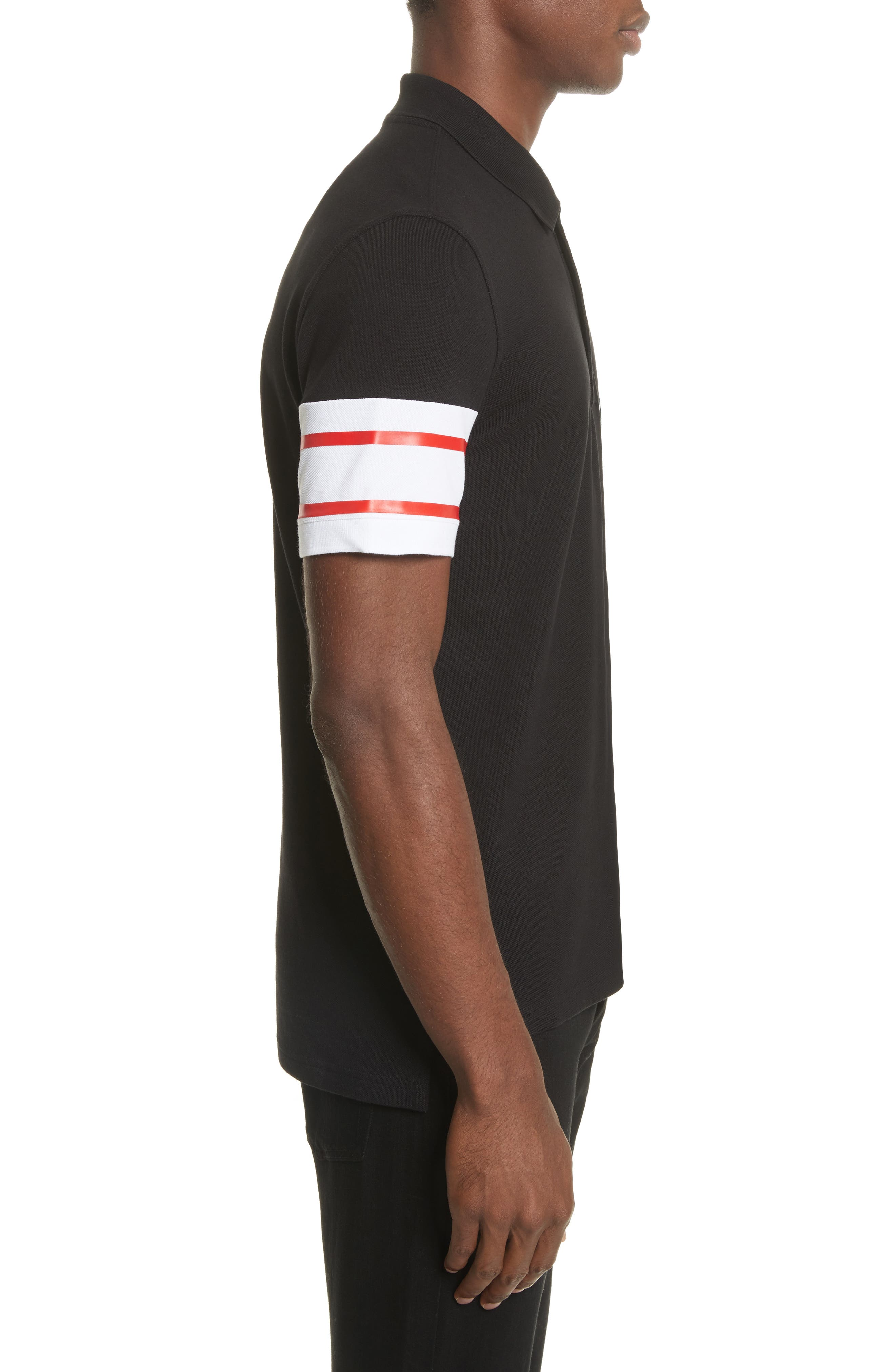 Cuban Fit Stripe Sleeve Polo,                             Alternate thumbnail 3, color,                             Black