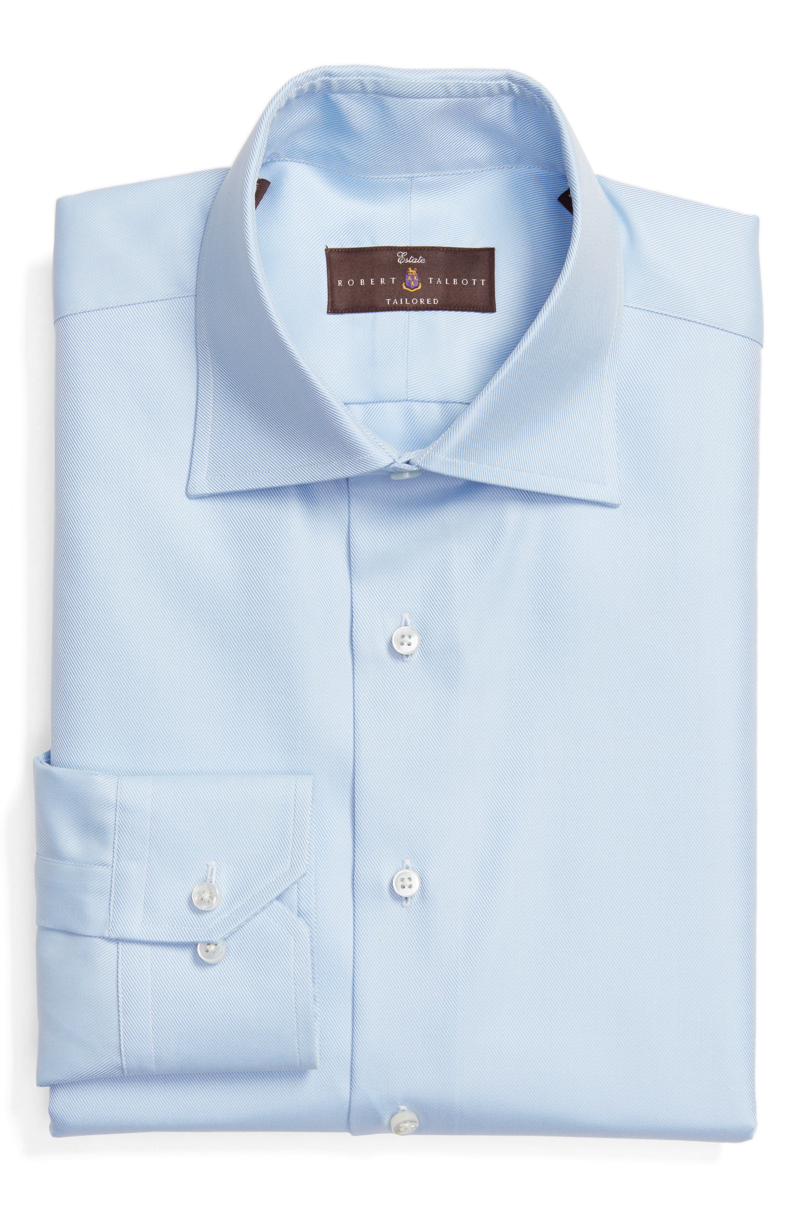 Tailored Fit Solid Dress Shirt,                         Main,                         color, Sky