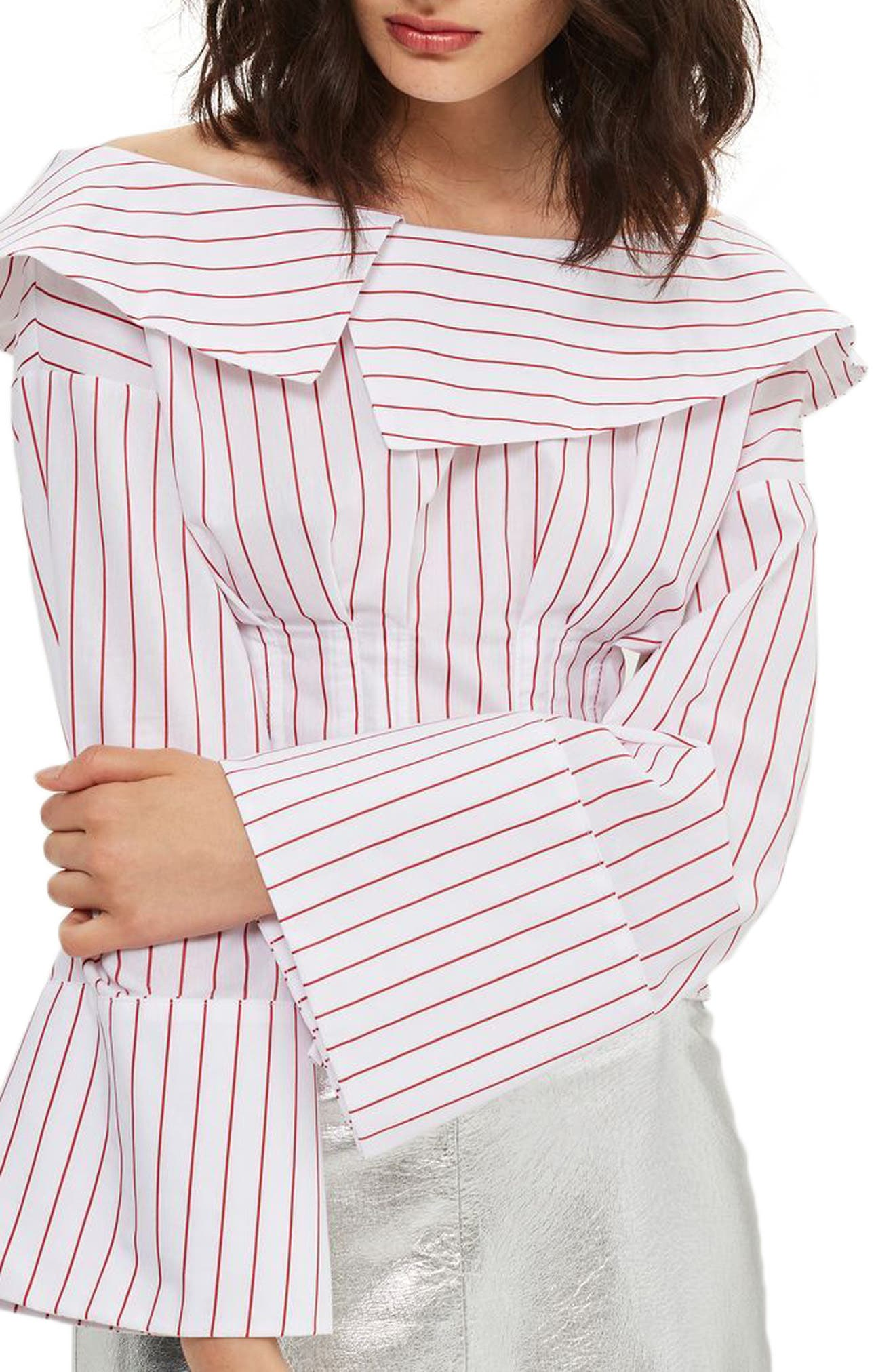 Topshop Stripe Poplin Off the Shoulder Corset Top