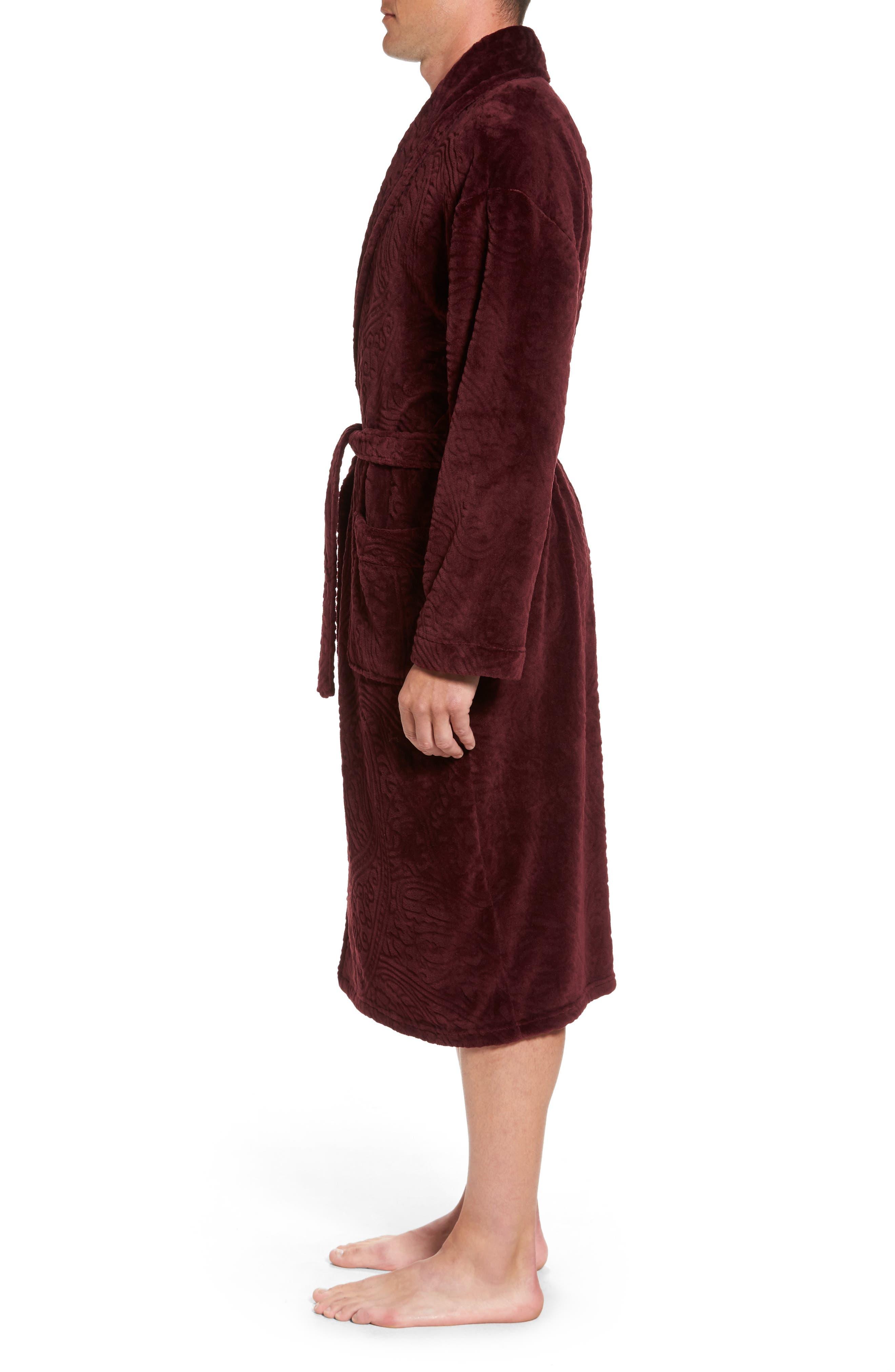 Midtown Robe,                             Alternate thumbnail 3, color,                             Burgundy Paisley