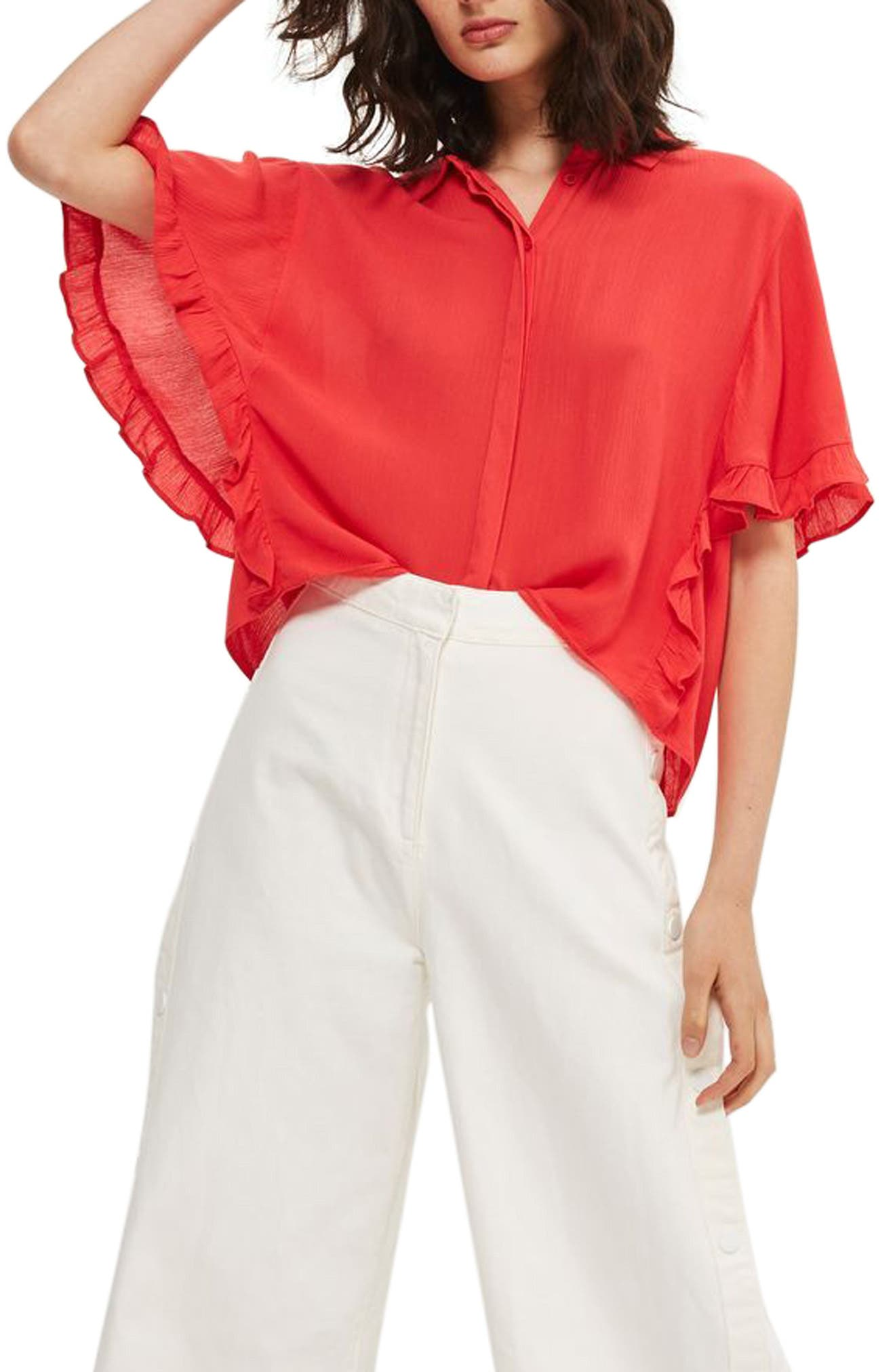 Katie Frill Sleeve Shirt,                         Main,                         color, Red