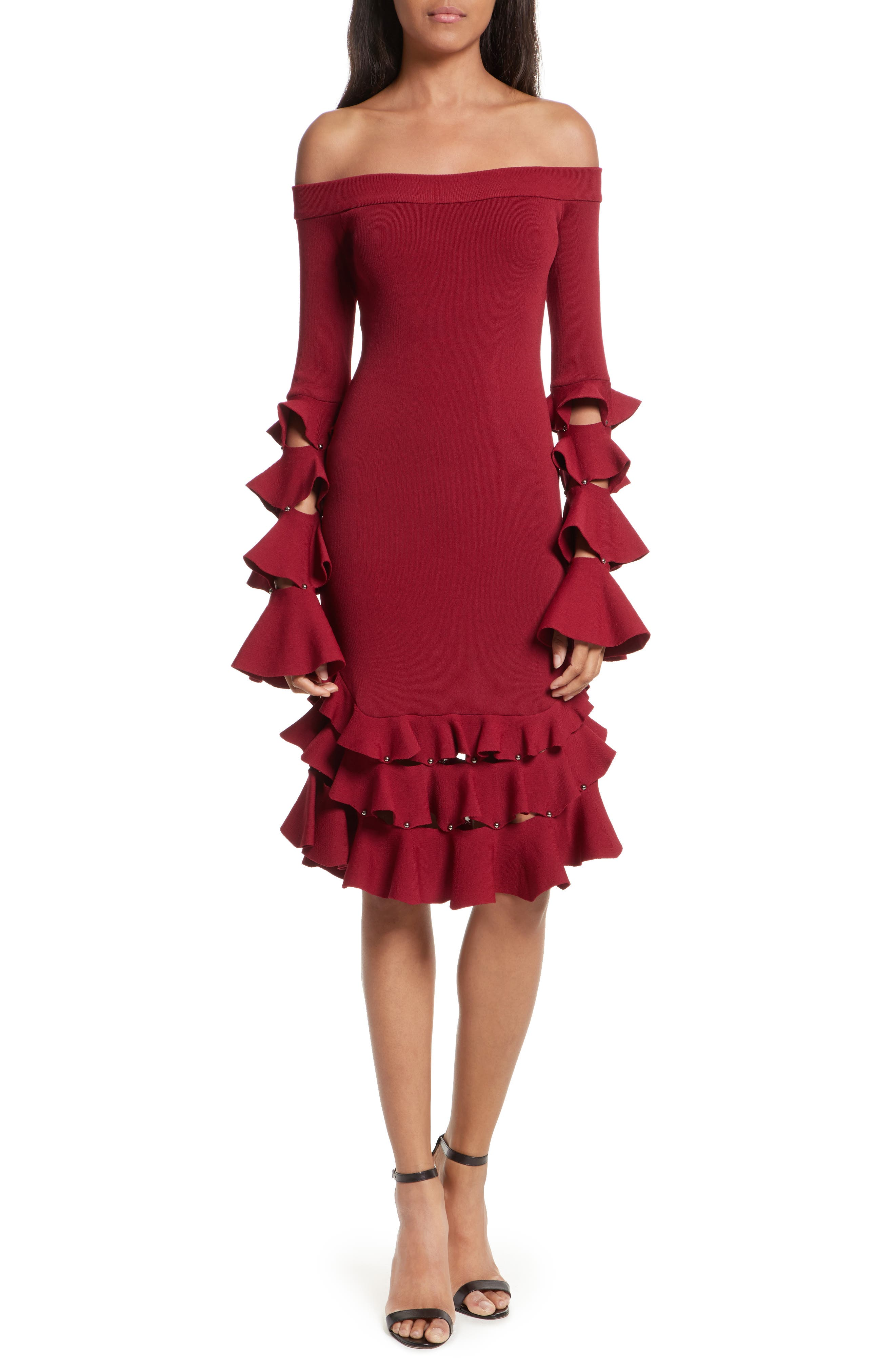 Jonathan Simkhai Slashed Knit Ruffle Off the Shoulder Dress