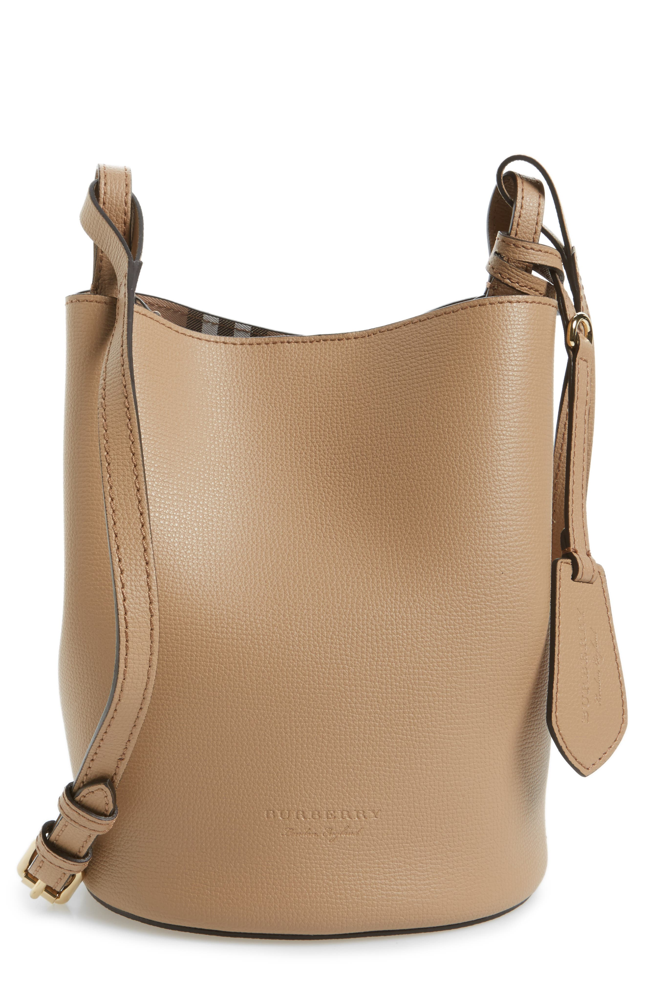 Alternate Image 1 Selected - Burberry Small Lorne Leather Bucket Bag