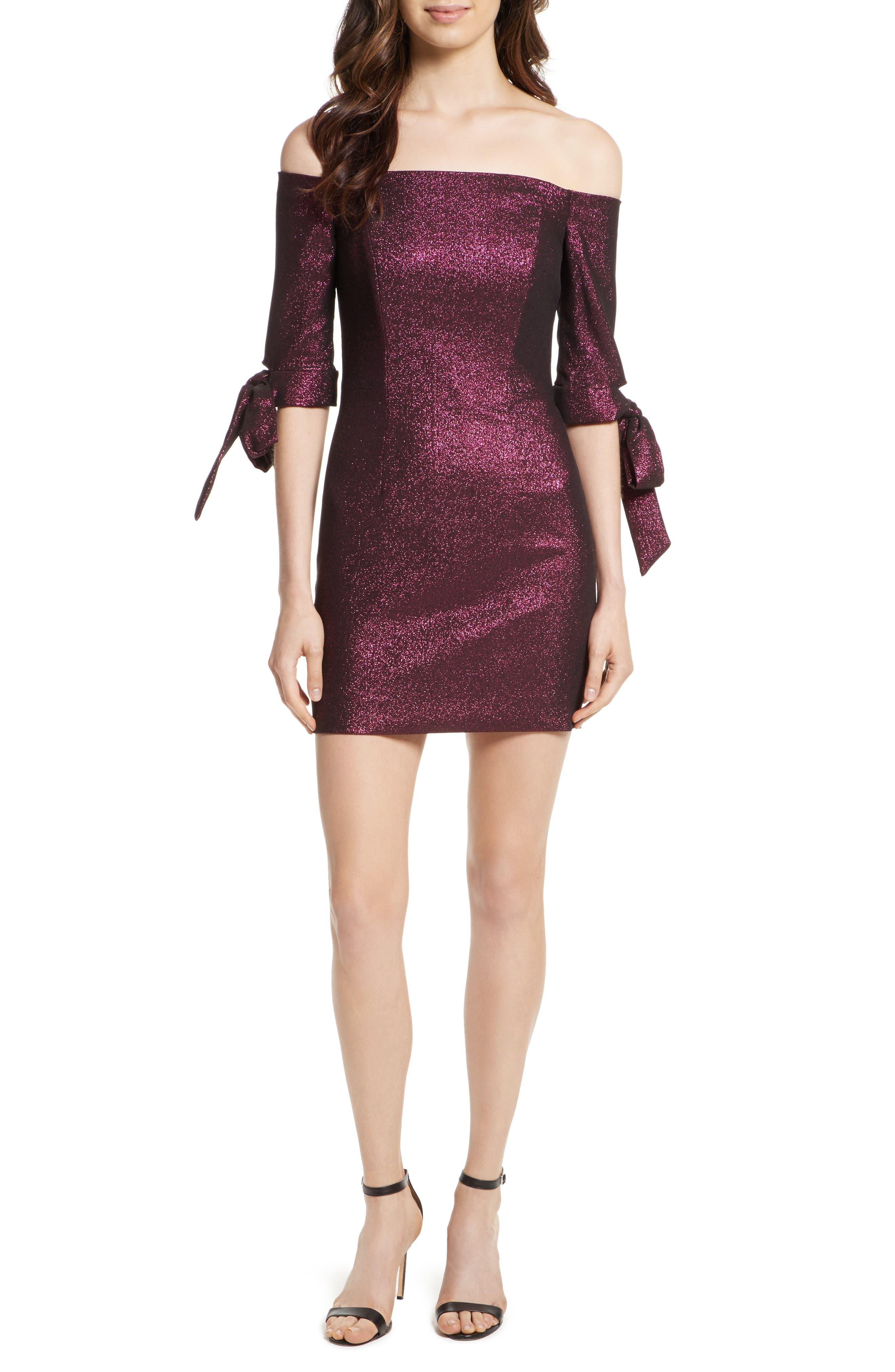Stretch Metallic Minidress,                         Main,                         color, Fuchsia