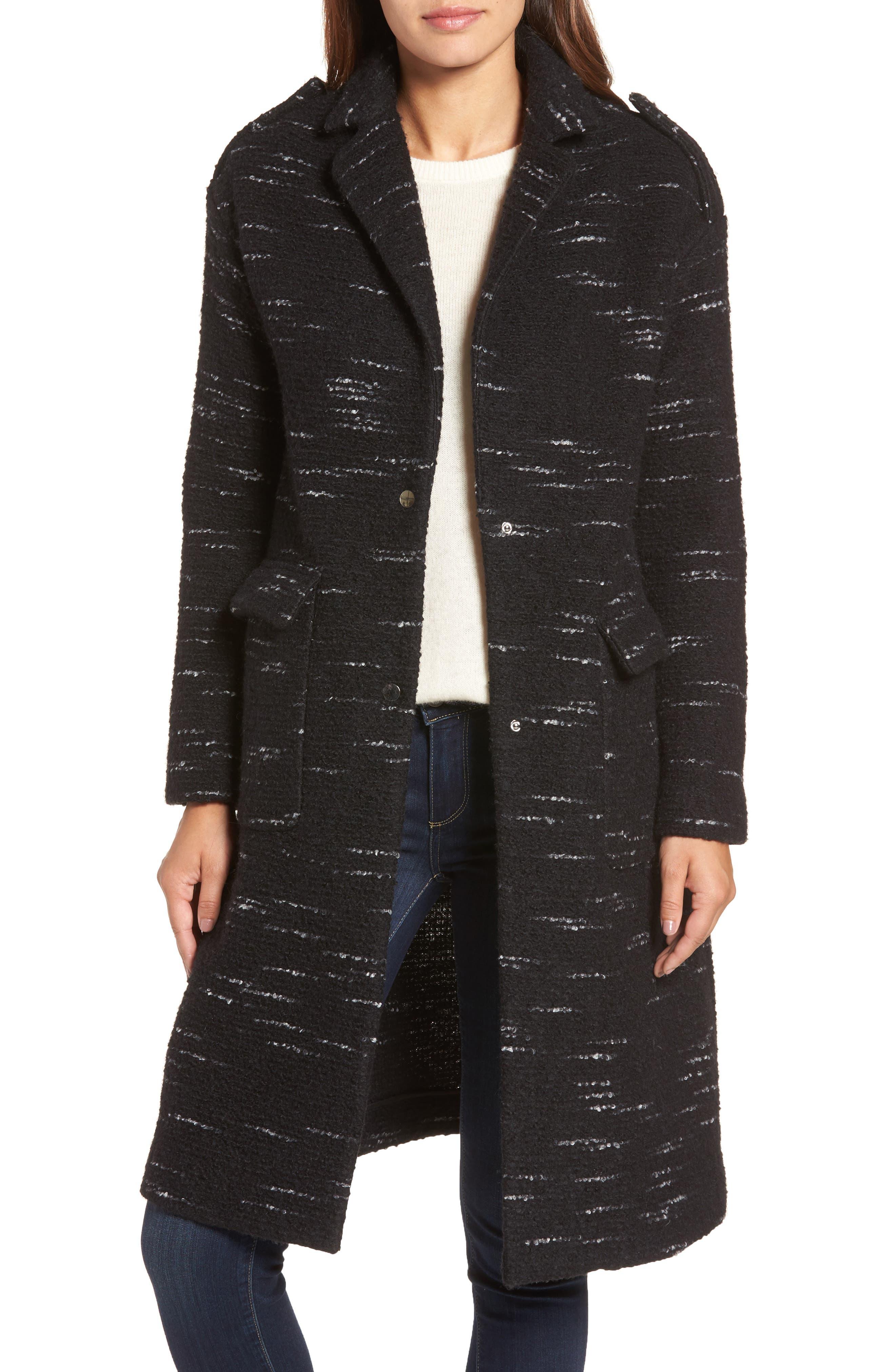 Bernardo Wool Blend Sweater Coat