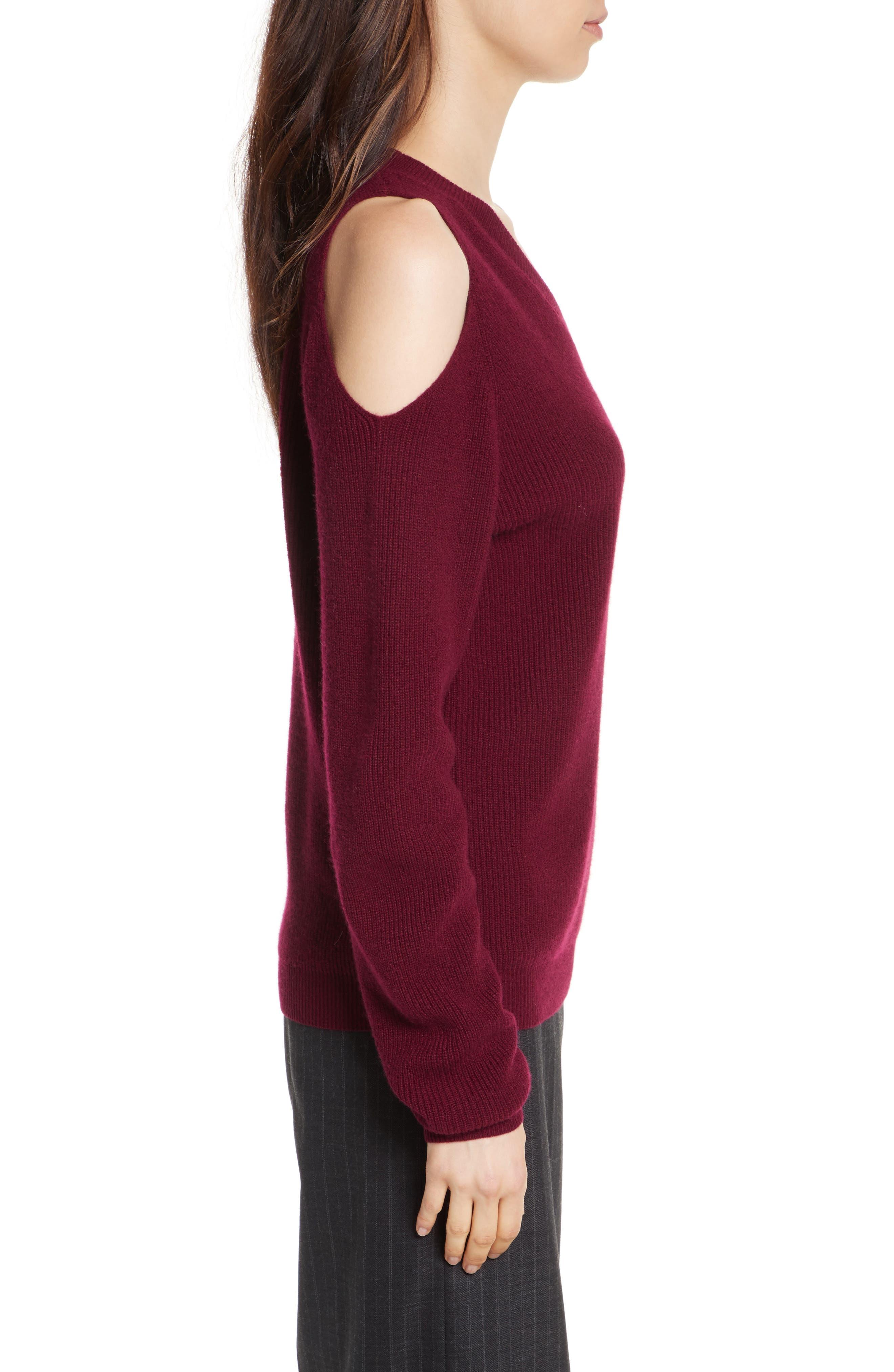 Cold Shoulder Cashmere Pullover,                             Alternate thumbnail 3, color,                             Burgundy