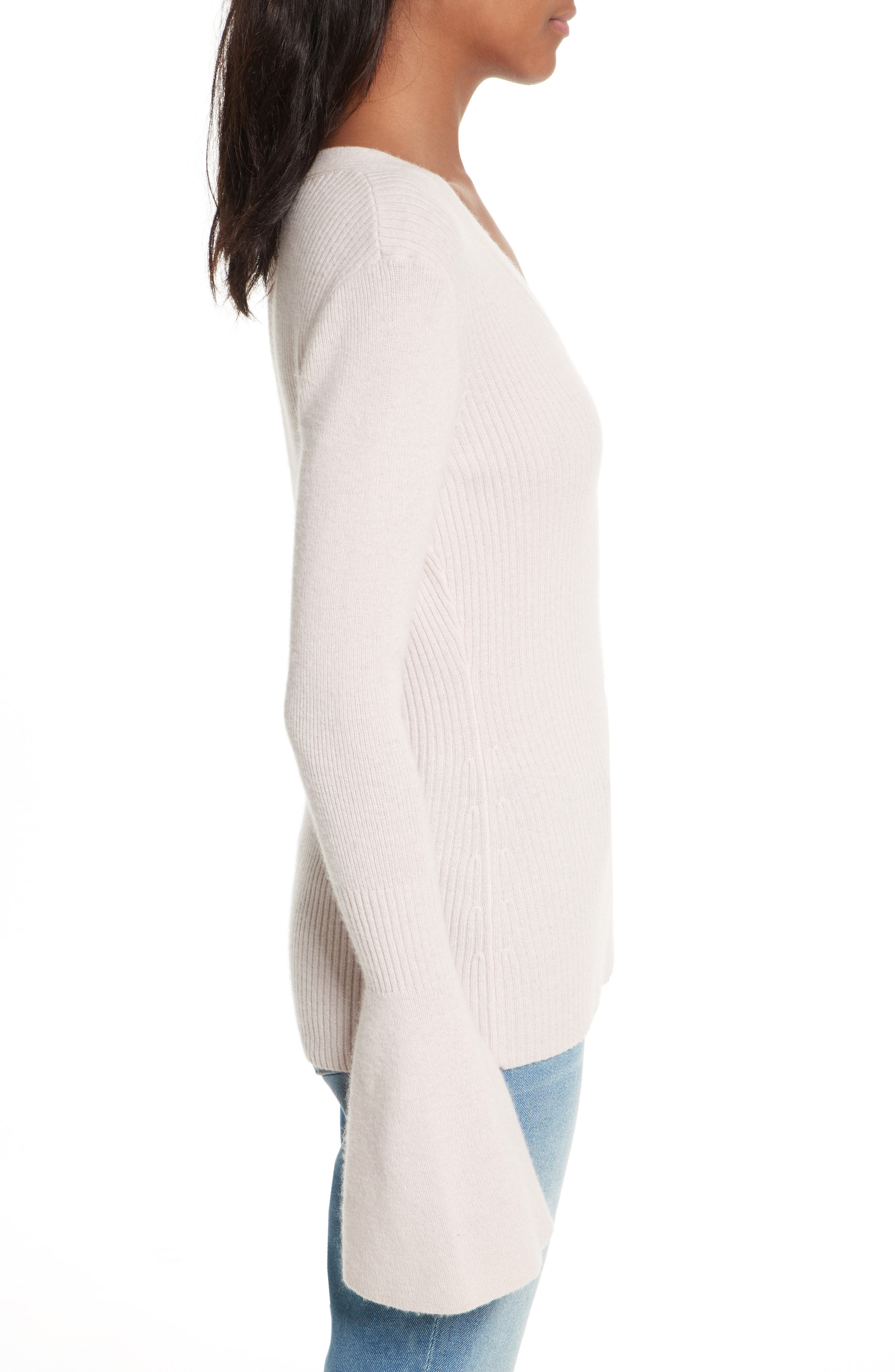 Stevie Bell Sleeve Sweater,                             Alternate thumbnail 3, color,                             Soft Pink