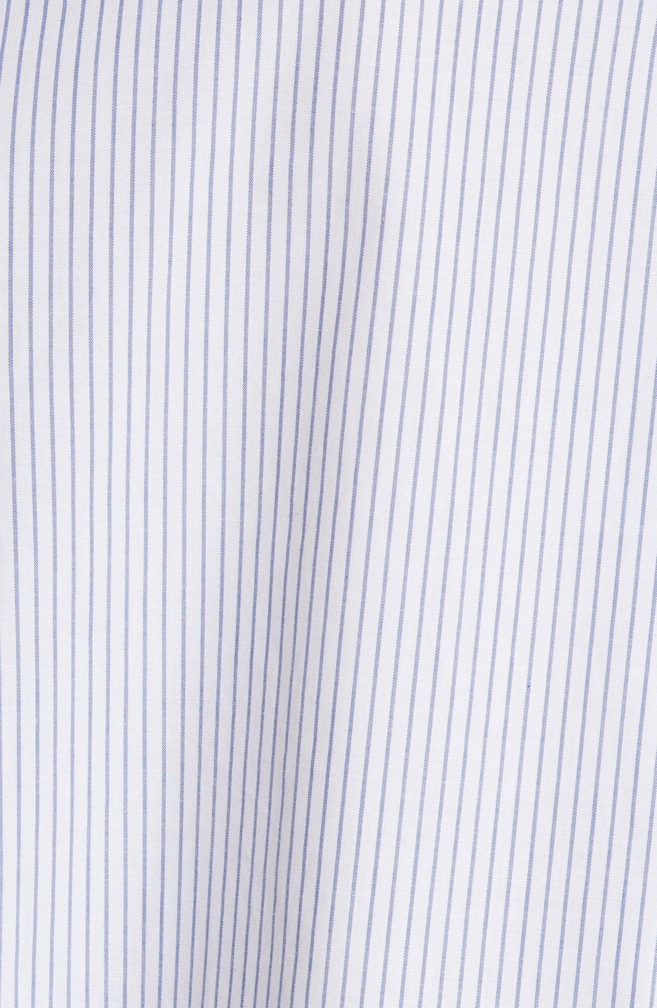stripe ruffle neck poplin shirt,                             Alternate thumbnail 6, color,                             Fresh White/ Deep Ultramarine