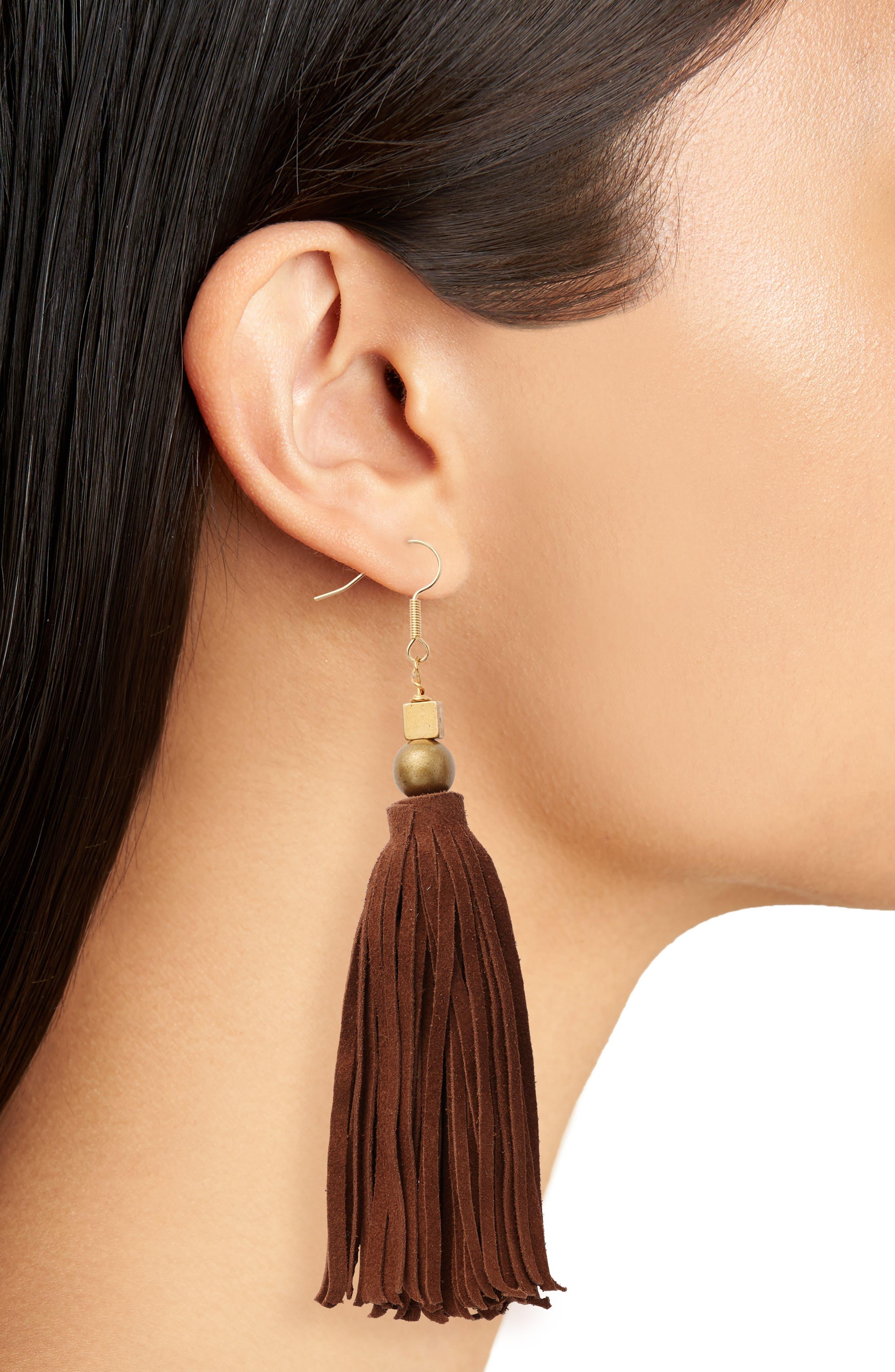 Alternate Image 2  - INK + ALLOY Suede Tassel Drop Earrings