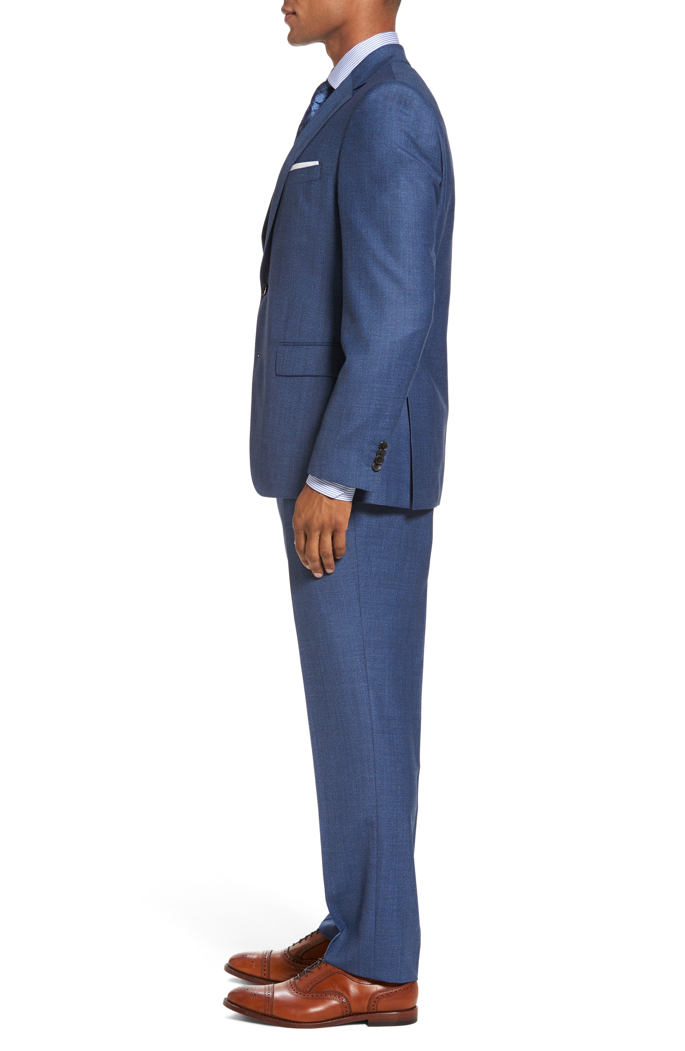Johnstons/Lenon Classic Fit Solid Wool Suit,                             Alternate thumbnail 3, color,                             Medium Blue