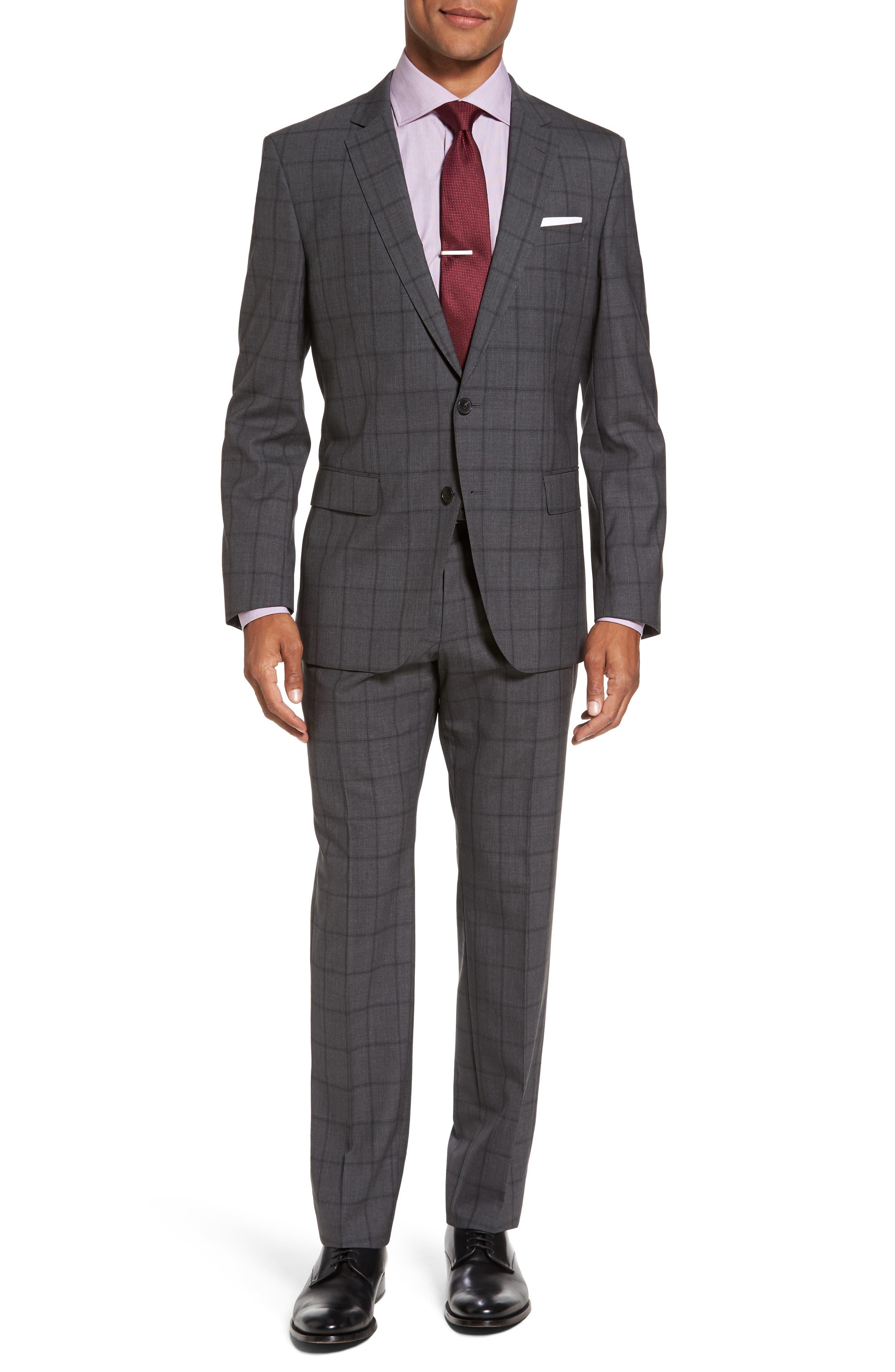 Huge/Genius Trim Fit Check Suit,                         Main,                         color, Open Grey