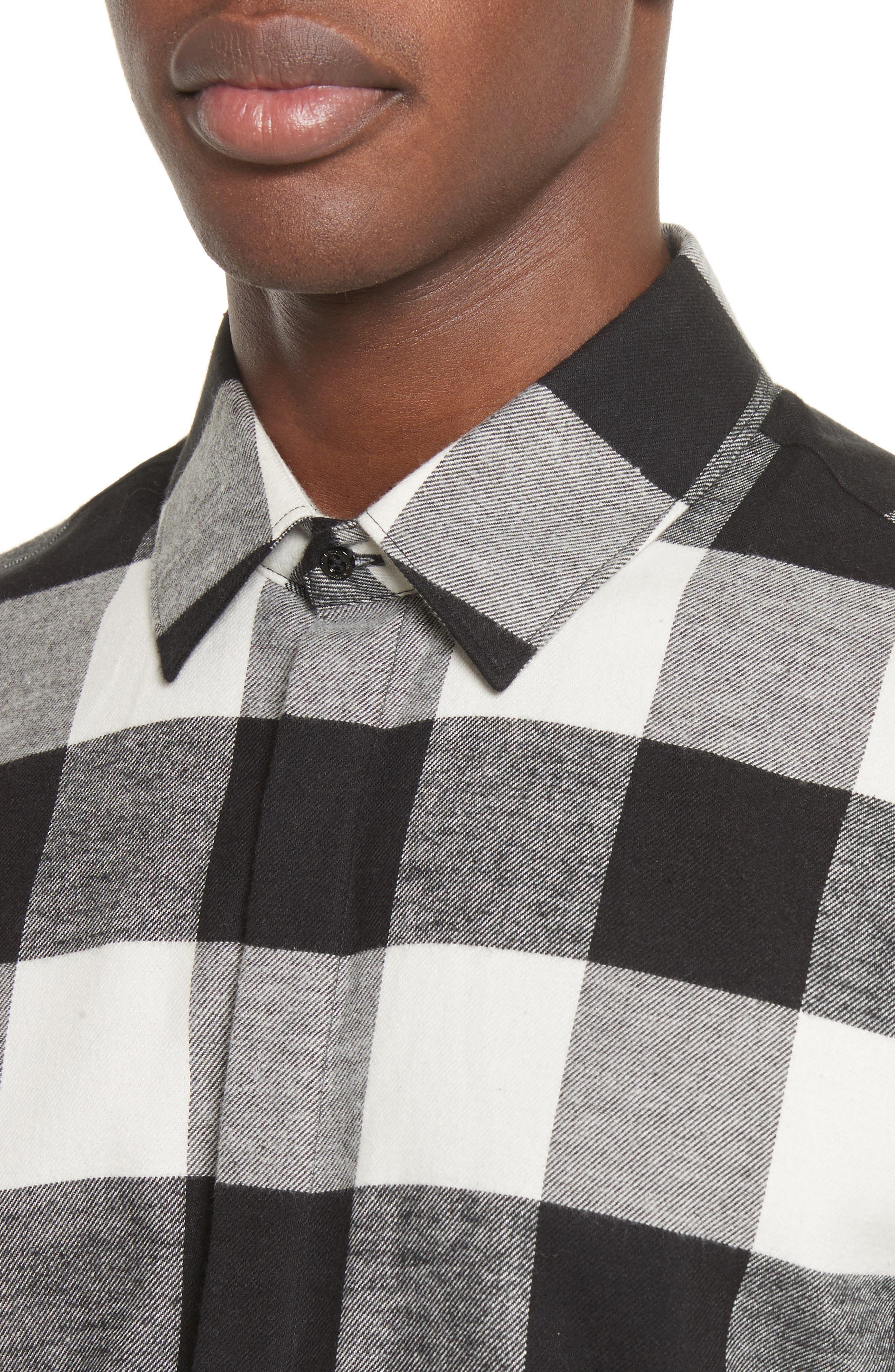 Live and Let Live Plaid Flannel Sport Shirt,                             Alternate thumbnail 4, color,                             Black/ Off White