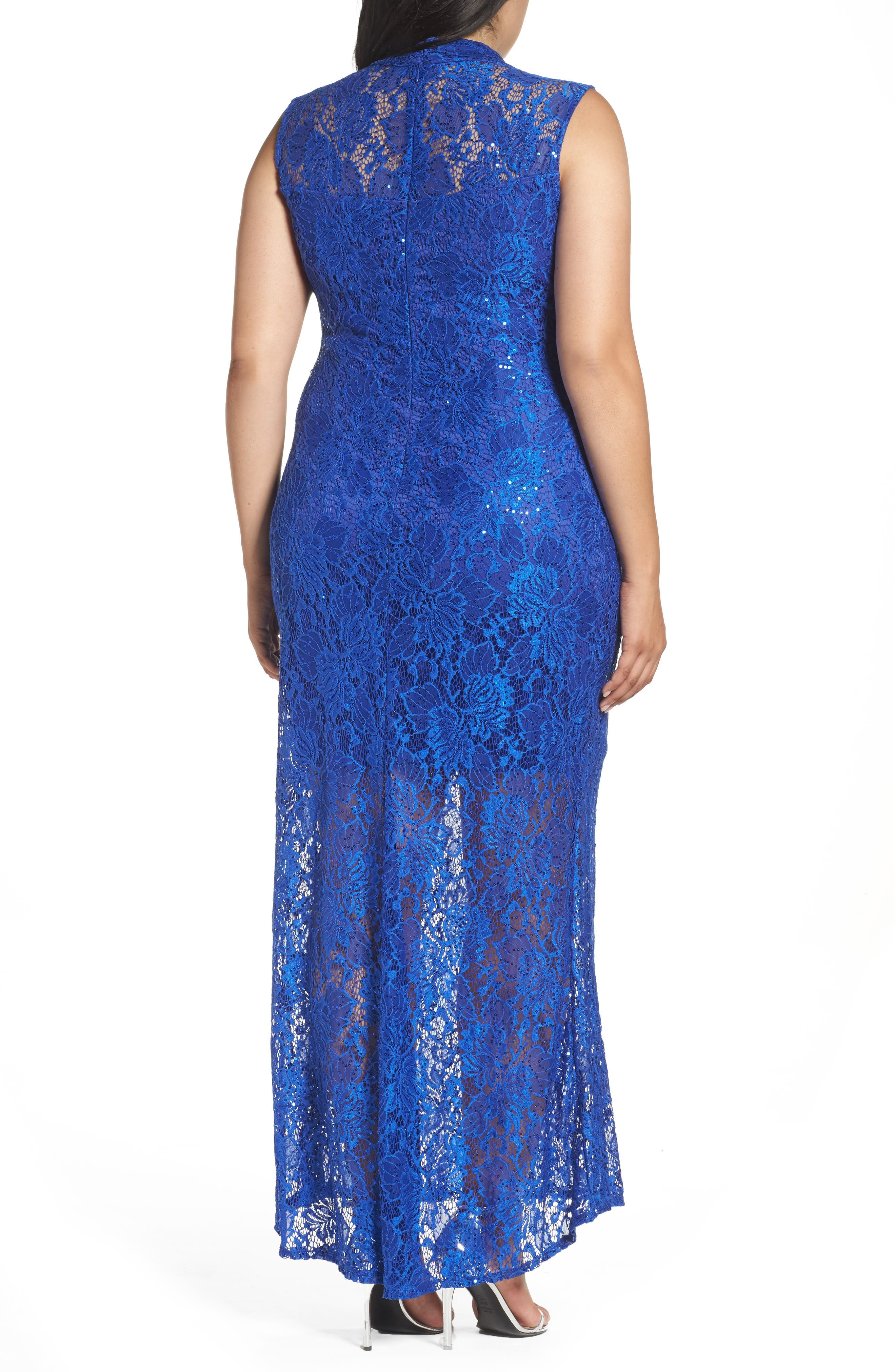 Alternate Image 2  - Marina Illusion Lace Gown (Plus Size)