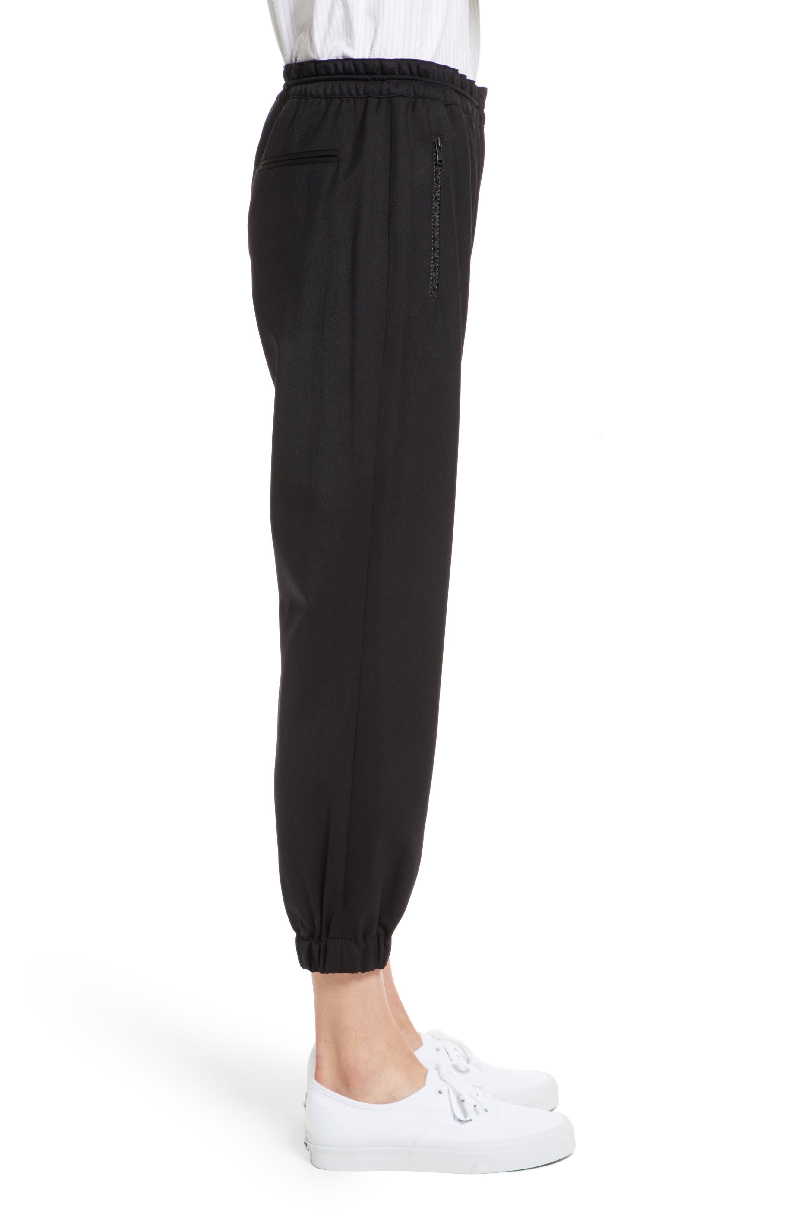 Italian Wool Gabardine Jogger Pants,                             Alternate thumbnail 4, color,                             Black